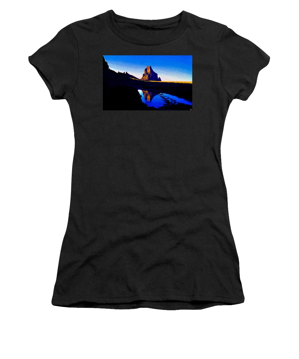 Art Women's T-Shirt (Athletic Fit) featuring the painting Rain At Shiprock by David Lee Thompson
