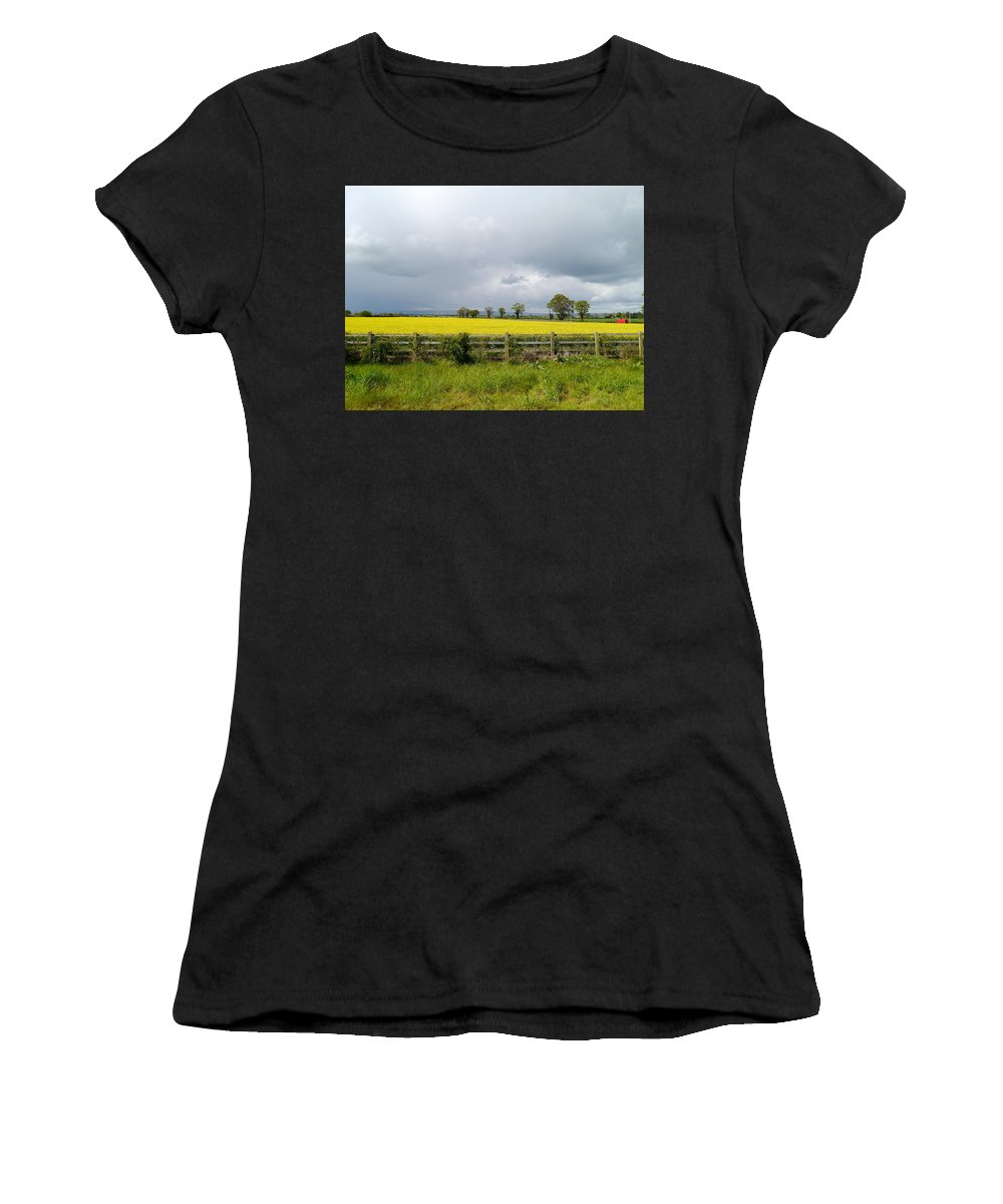 Canola Field Women's T-Shirt featuring the photograph Rain Clouds Over Canola Field by Christiane Schulze Art And Photography