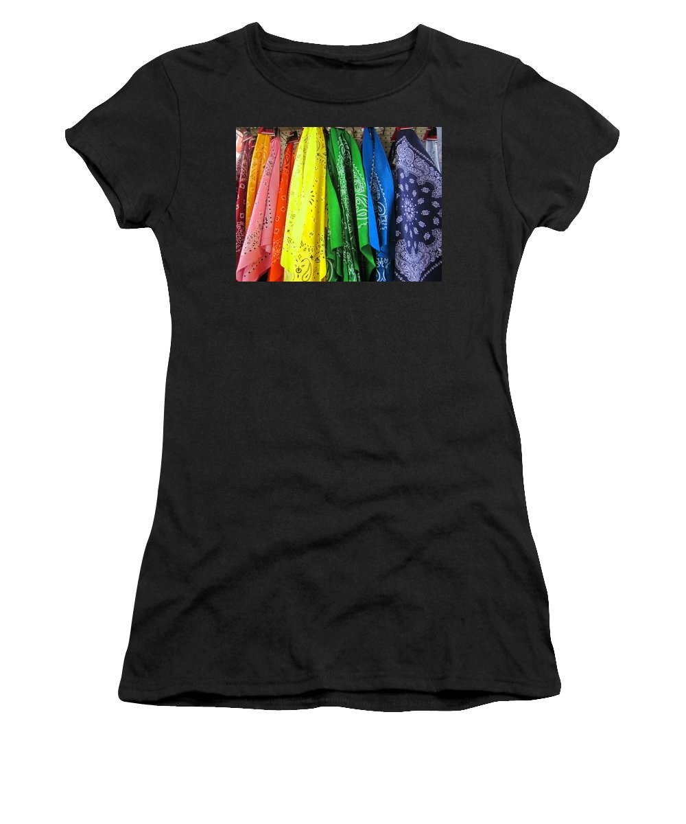 Red Women's T-Shirt featuring the photograph Rainbow Full Of Bandanas by Kym Backland