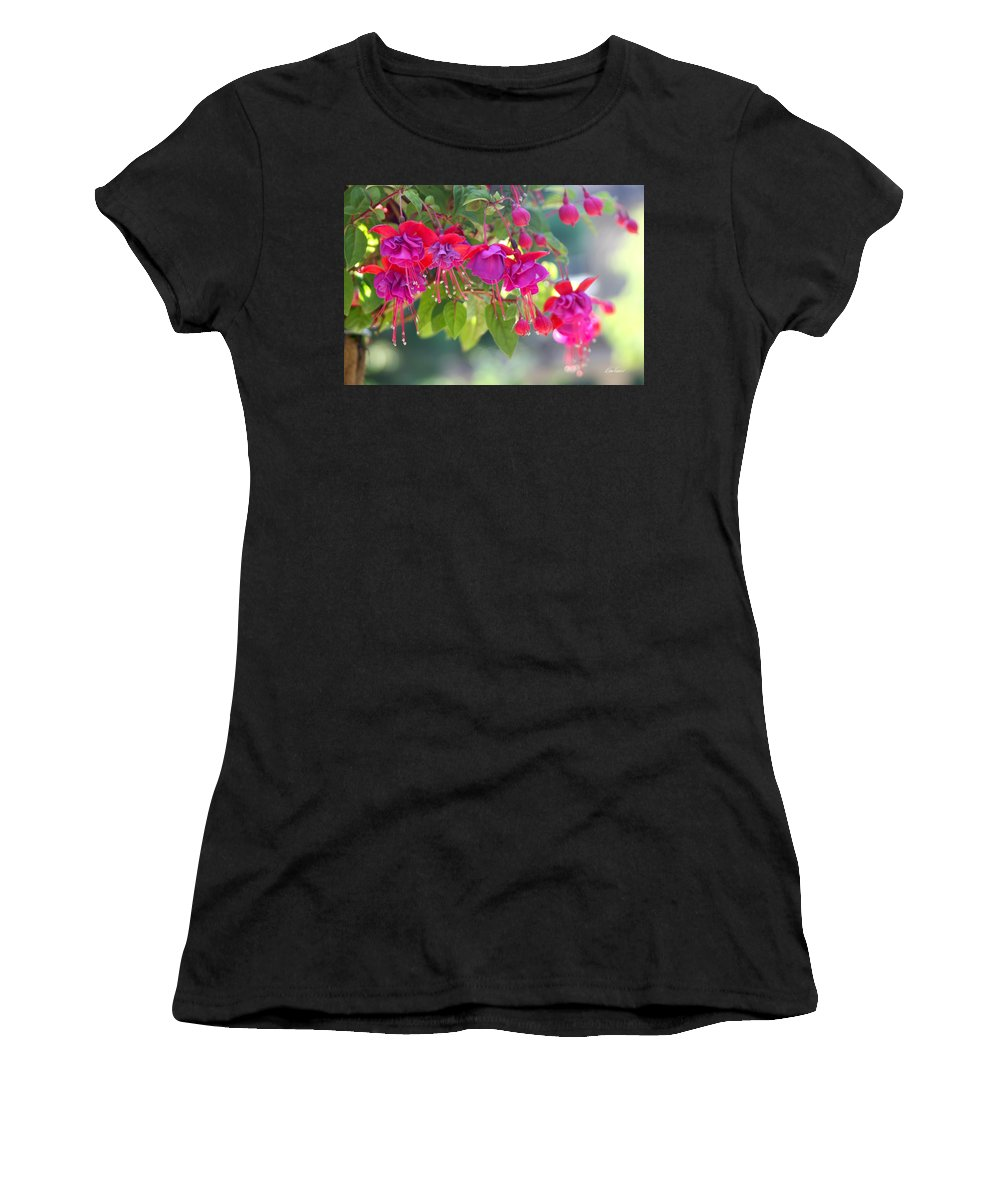 Fuchsias Women's T-Shirt (Athletic Fit) featuring the photograph Red And Purple Fuchsias by Diana Haronis