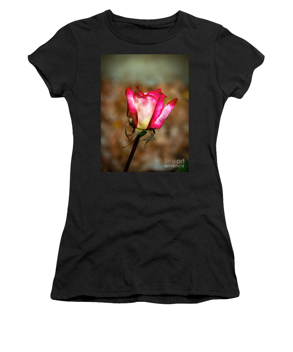 Rose Women's T-Shirt (Athletic Fit) featuring the photograph Red Bud by Robert Bales
