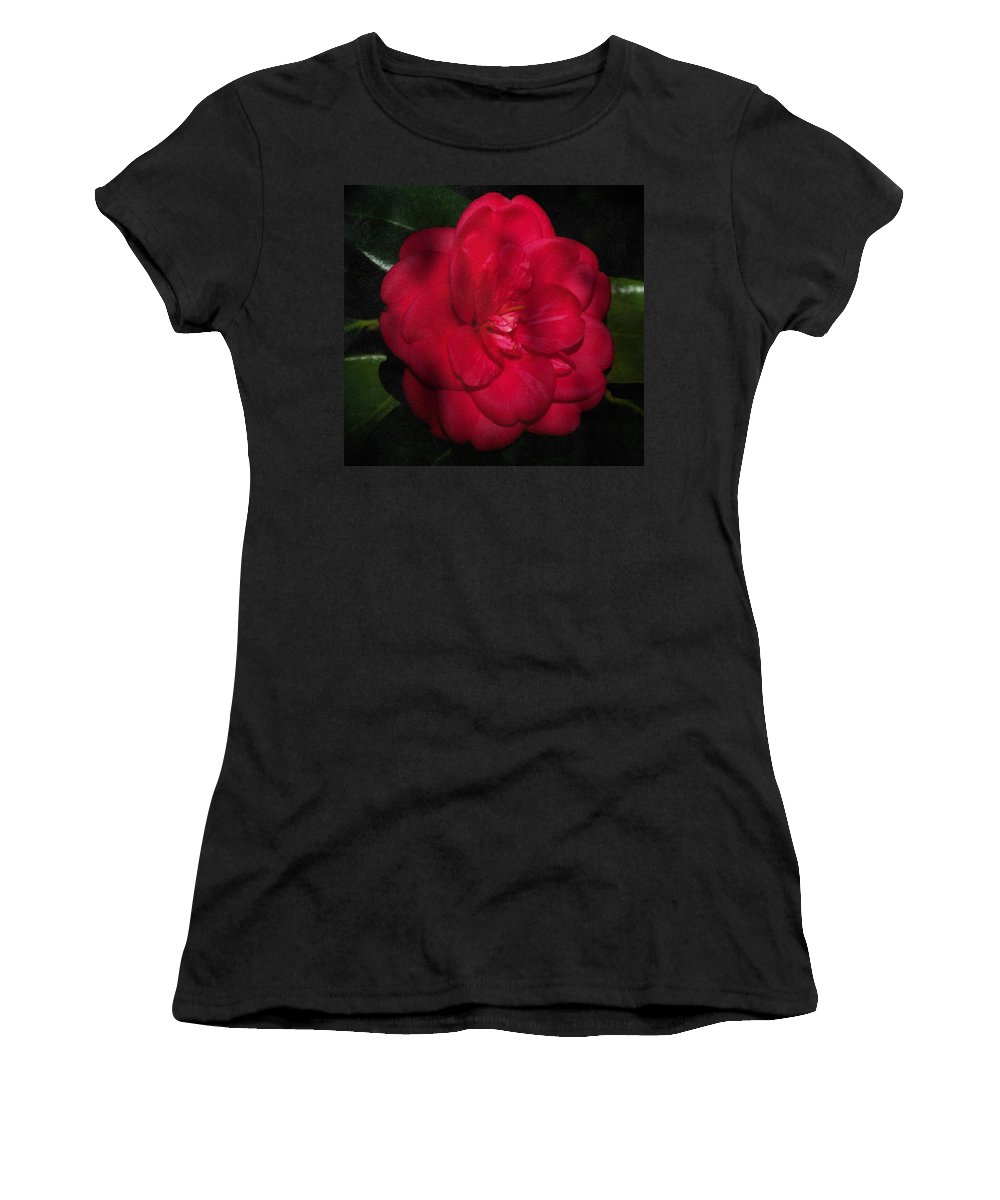 Camelia Women's T-Shirt (Athletic Fit) featuring the photograph Red Camelia by Georgiana Romanovna