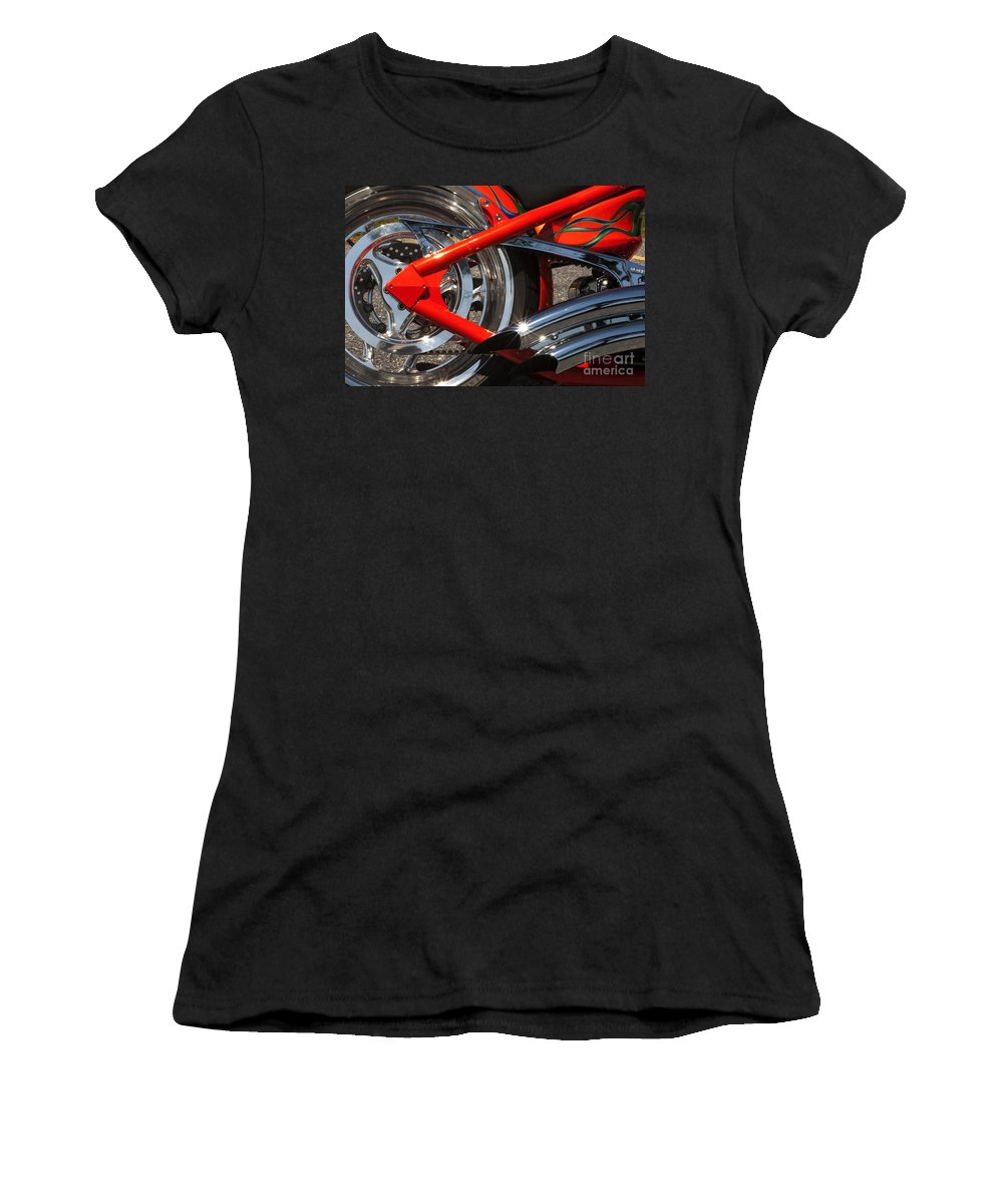 Bike Women's T-Shirt featuring the photograph Red Chopper Detail by Paul W Faust - Impressions of Light