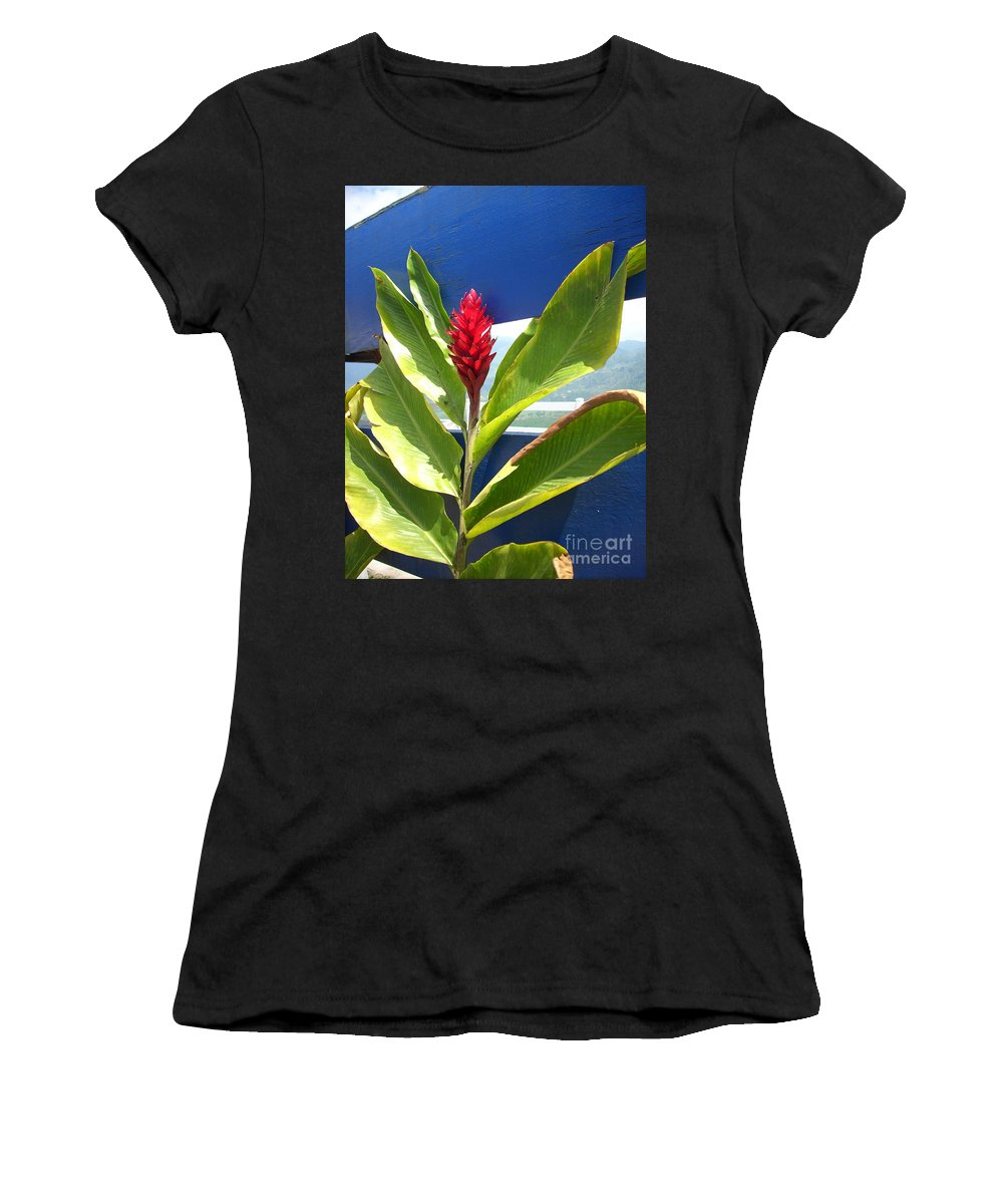 Flower Women's T-Shirt (Athletic Fit) featuring the photograph Red Ginger by Randi Shenkman