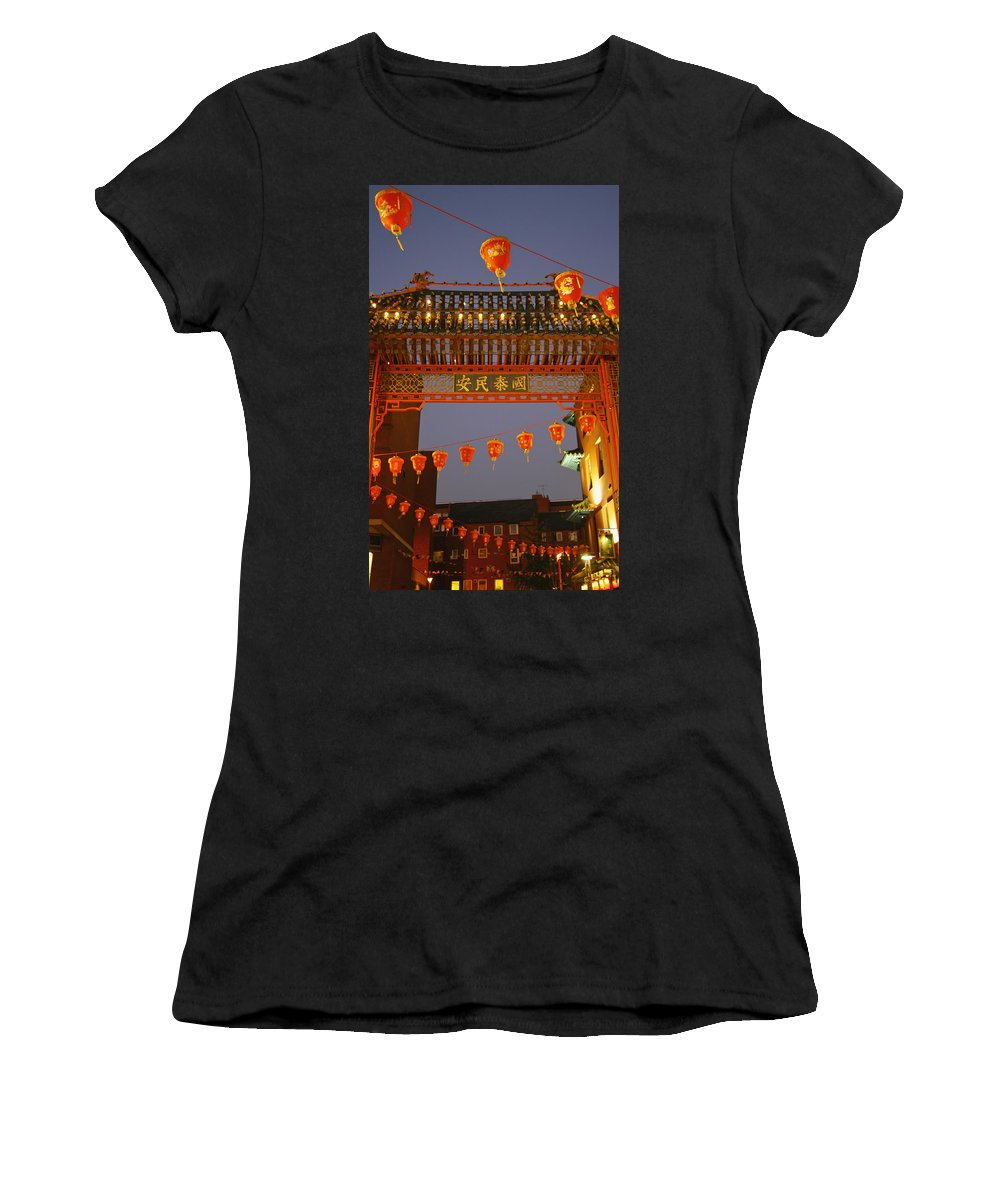 Writing Women's T-Shirt (Athletic Fit) featuring the photograph Red Lanterns And Gate On Gerrard Street by Axiom Photographic