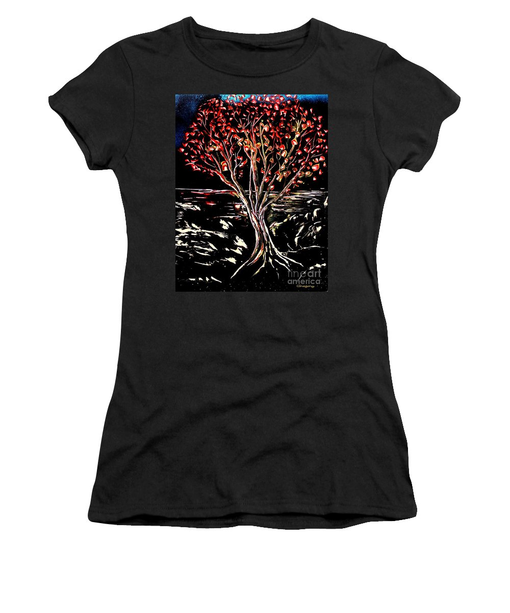 Painting Women's T-Shirt featuring the painting Red Leaf by Greg Moores