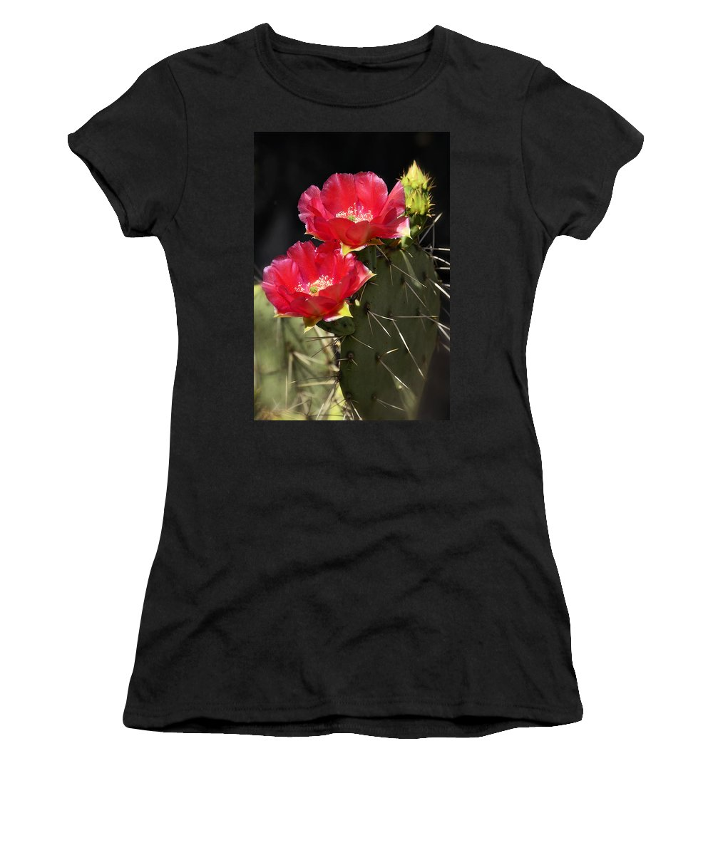 Red Prickly Pear Cactus Women's T-Shirt (Athletic Fit) featuring the photograph Red Prickly Pear Cactus by Saija Lehtonen
