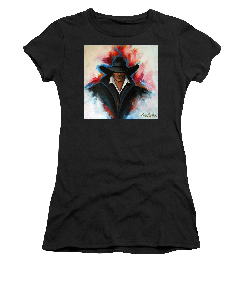 Colors Women's T-Shirt (Athletic Fit) featuring the painting Red Rain by Lance Headlee