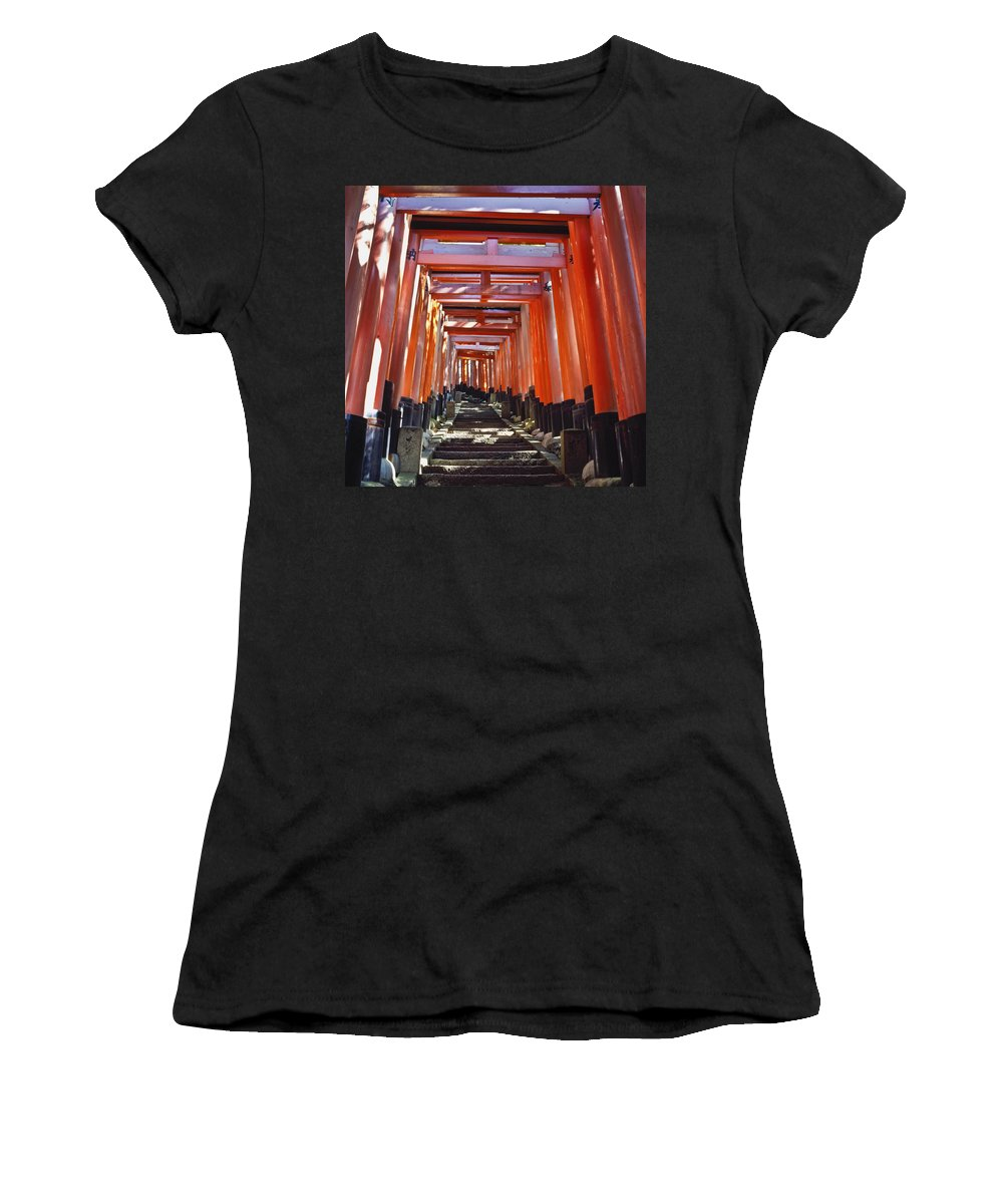 Arch Women's T-Shirt (Athletic Fit) featuring the photograph Red Torii Arches Over Steps At Inari by Axiom Photographic