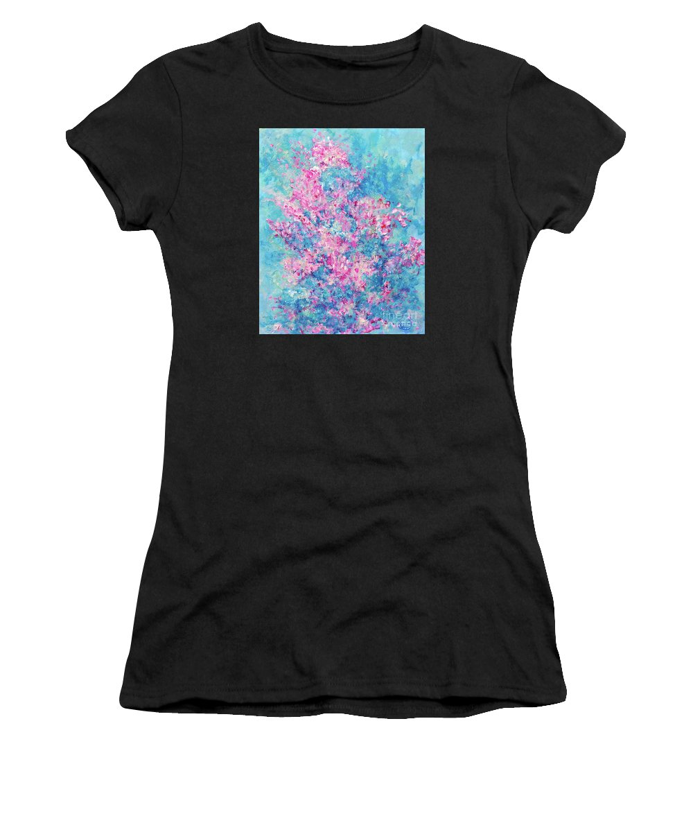 Redbud Tree Women's T-Shirt (Athletic Fit) featuring the painting Redbud Special by Nancy Cupp