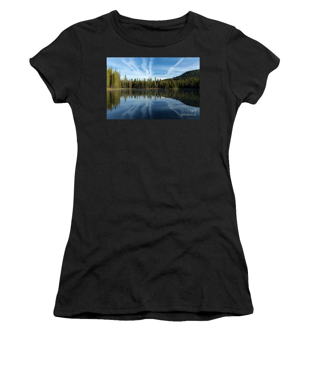Summit Lake Women's T-Shirt (Athletic Fit) featuring the photograph Reflecting Blue by Adam Jewell