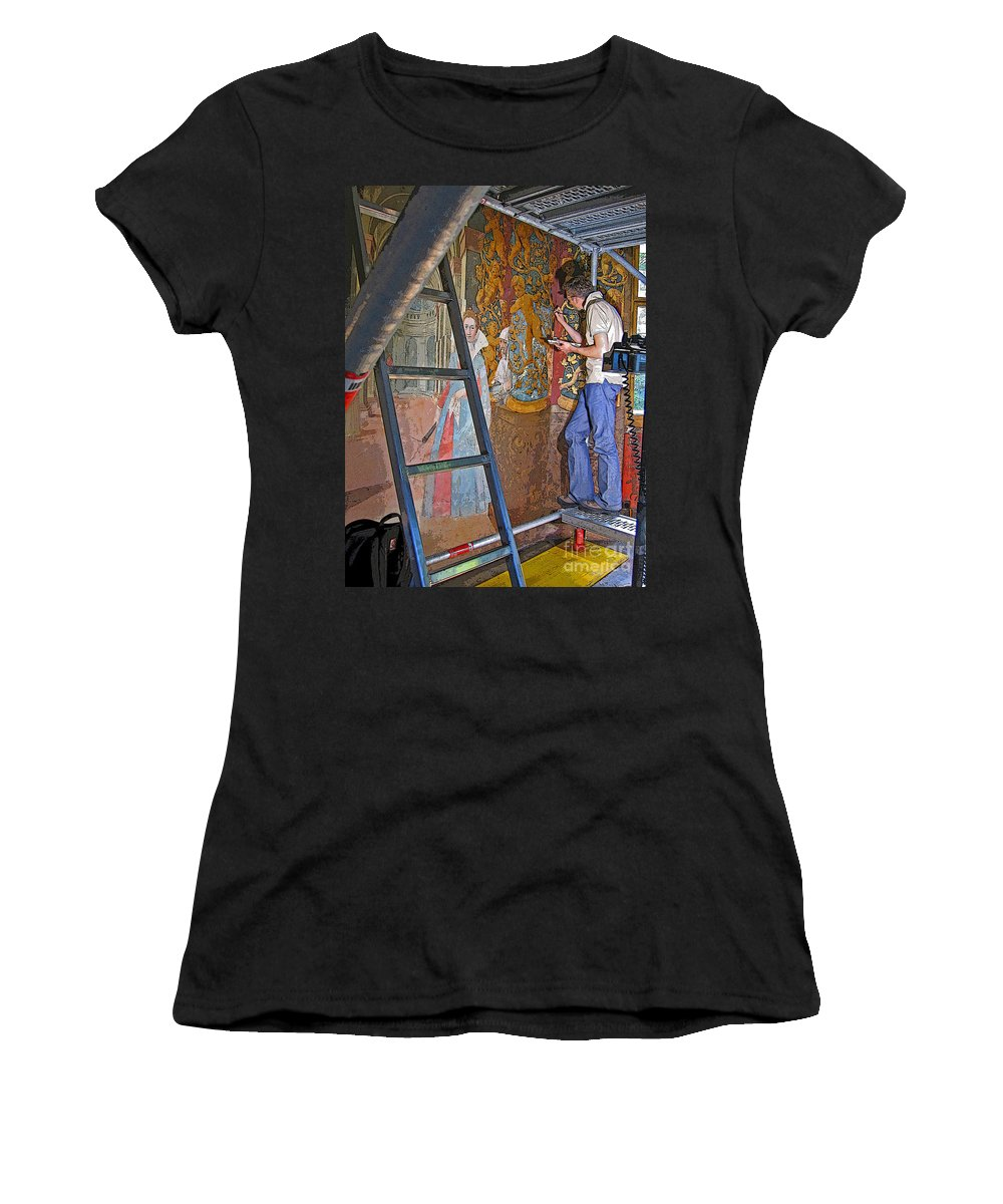Art Women's T-Shirt (Athletic Fit) featuring the photograph Restoring Art by Ann Horn
