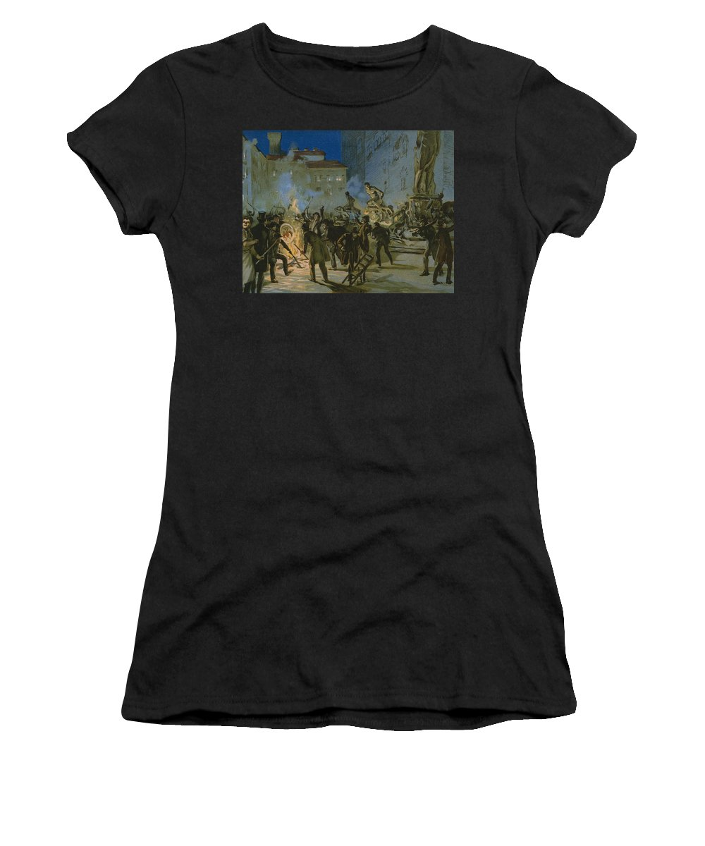 Male; Fire; Burning; Smoke; Night; Nationalist; Nationalists; Italian Unification; Insurrection; Uprising; Rebellion; City; Town; Toscane Women's T-Shirt (Athletic Fit) featuring the painting Revolution In Florence by Italian School