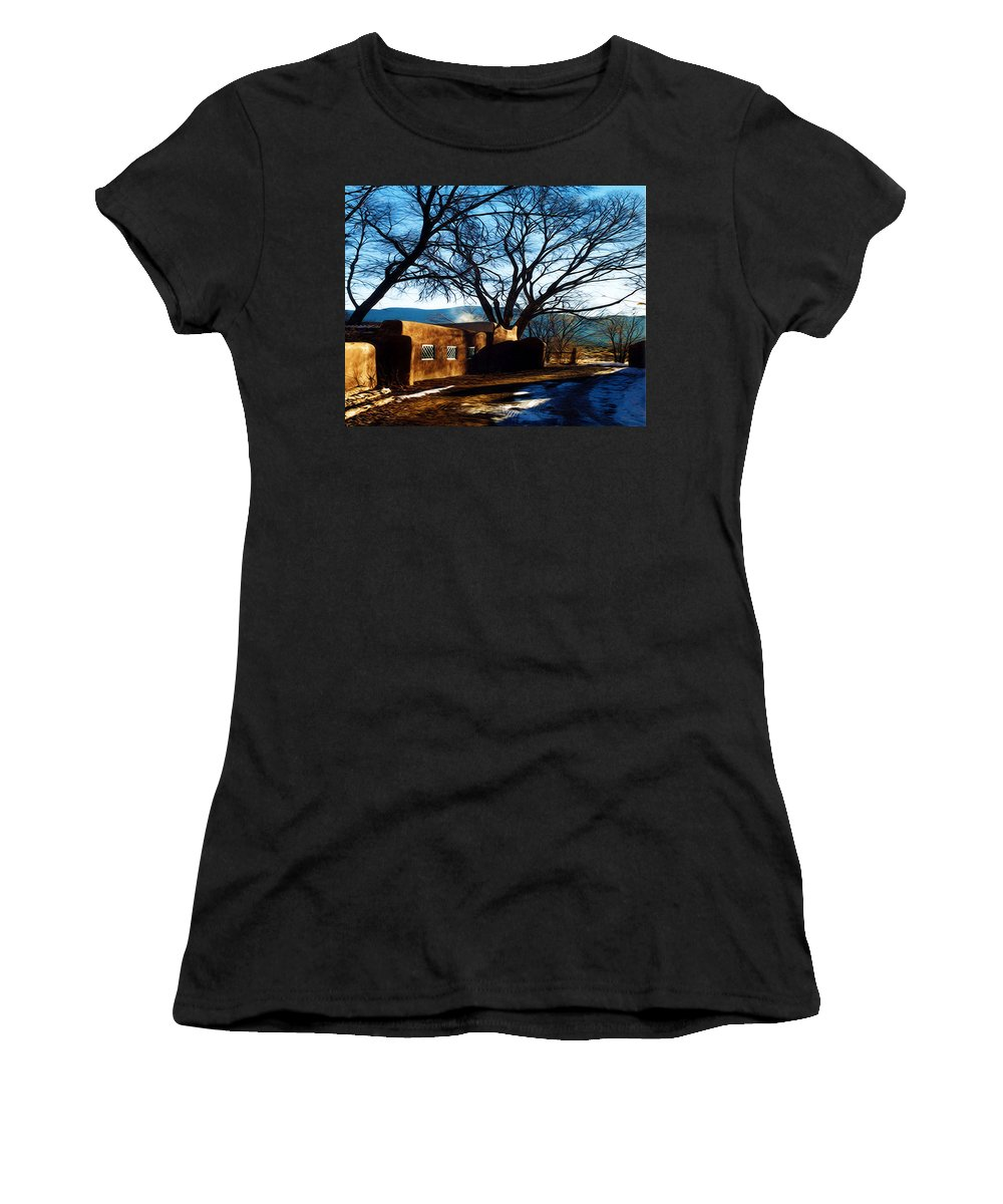 Tree Women's T-Shirt (Athletic Fit) featuring the photograph Road To Mescalero by Terry Fiala