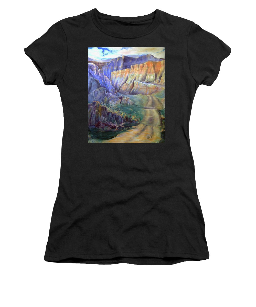 Southwest Women's T-Shirt (Athletic Fit) featuring the painting Road To Rainbow Gulch by Gertrude Palmer