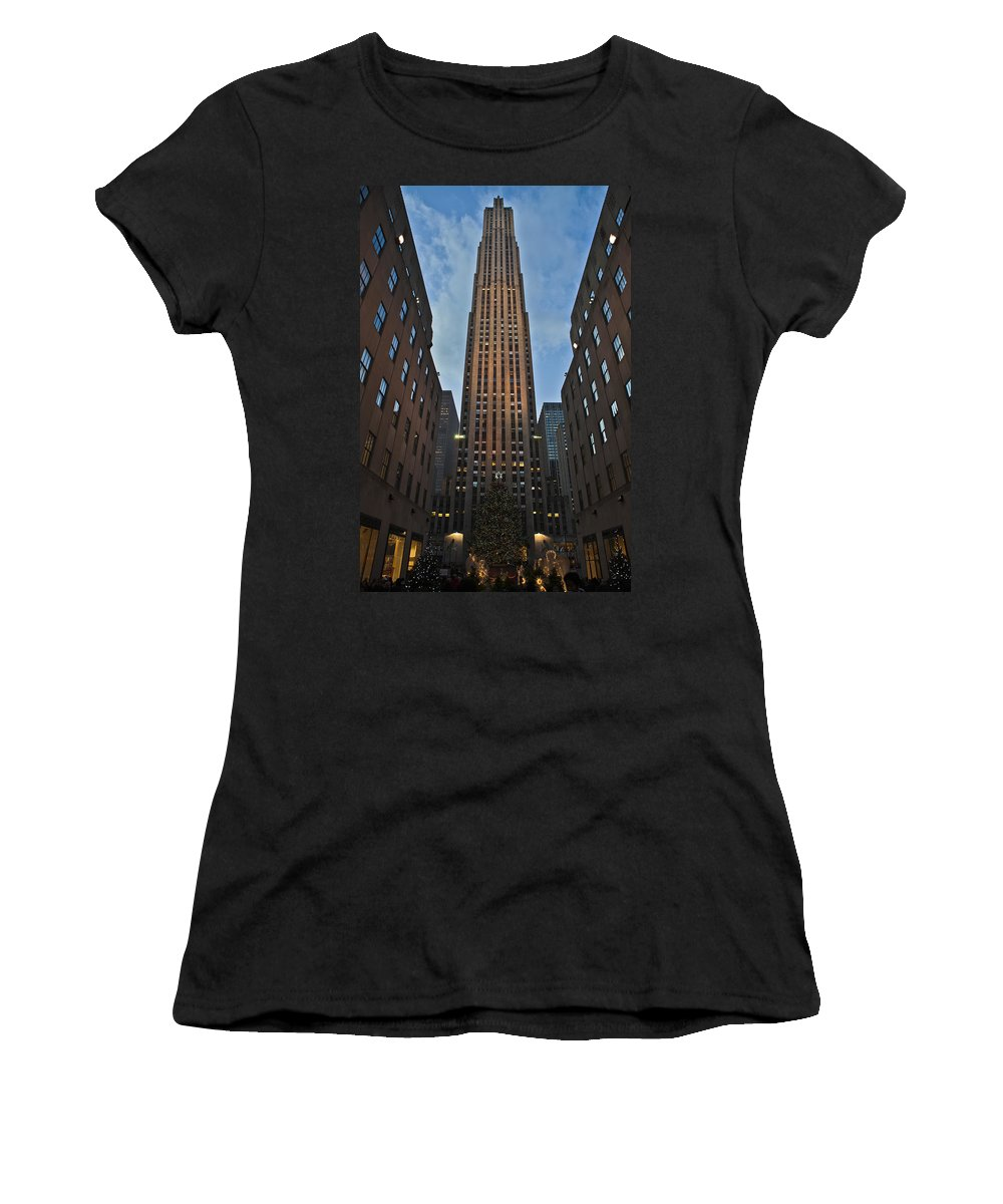 Christmas Tree Women's T-Shirt (Athletic Fit) featuring the photograph Rockefeller Tree by Theodore Jones