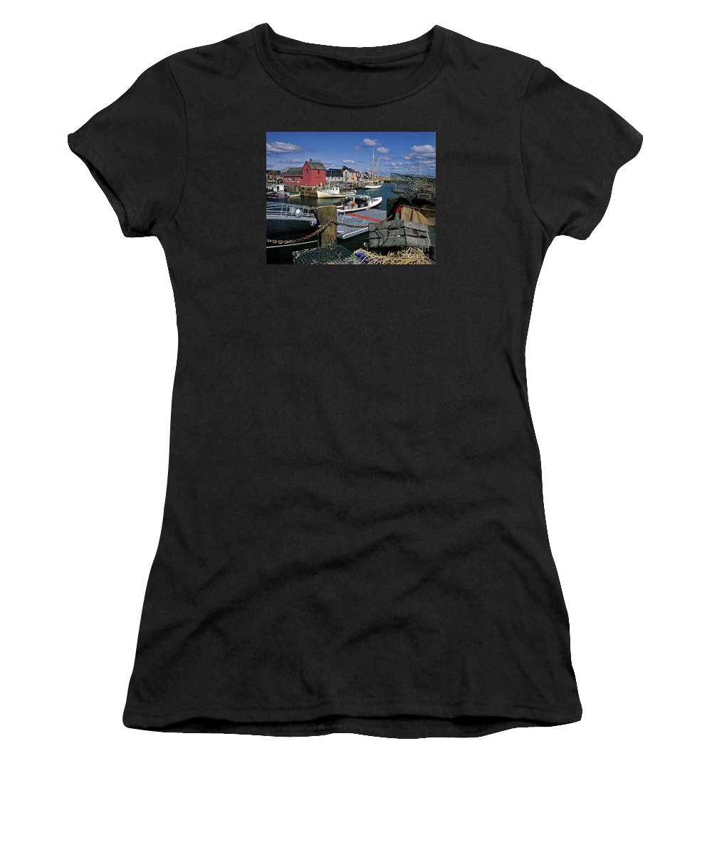 Lobster Women's T-Shirt featuring the photograph Rockport - Fm000070 by Daniel Dempster