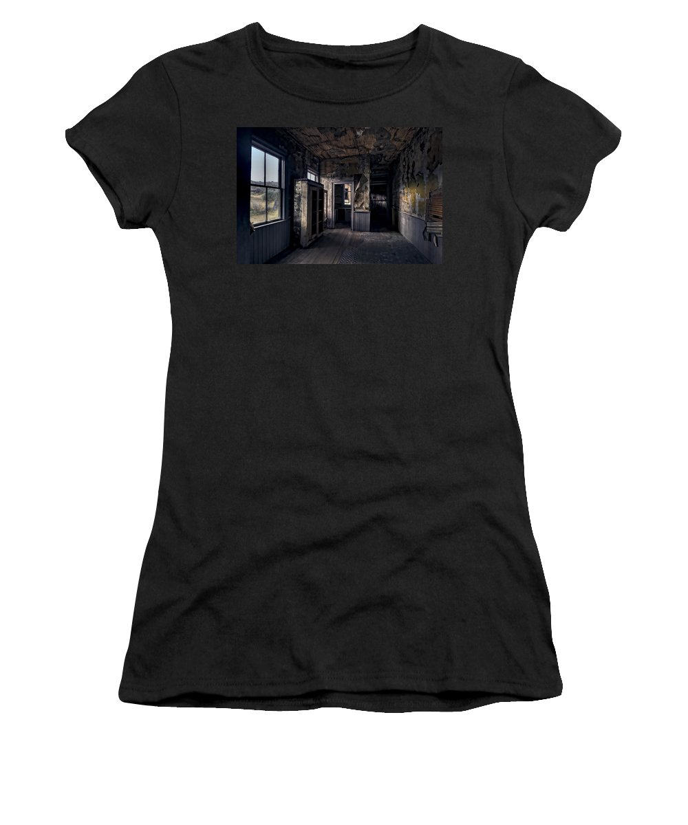 Bannack Women's T-Shirt featuring the photograph Roe - Graves House Kitchen Of Bannack Ghost Town - Montana by Daniel Hagerman