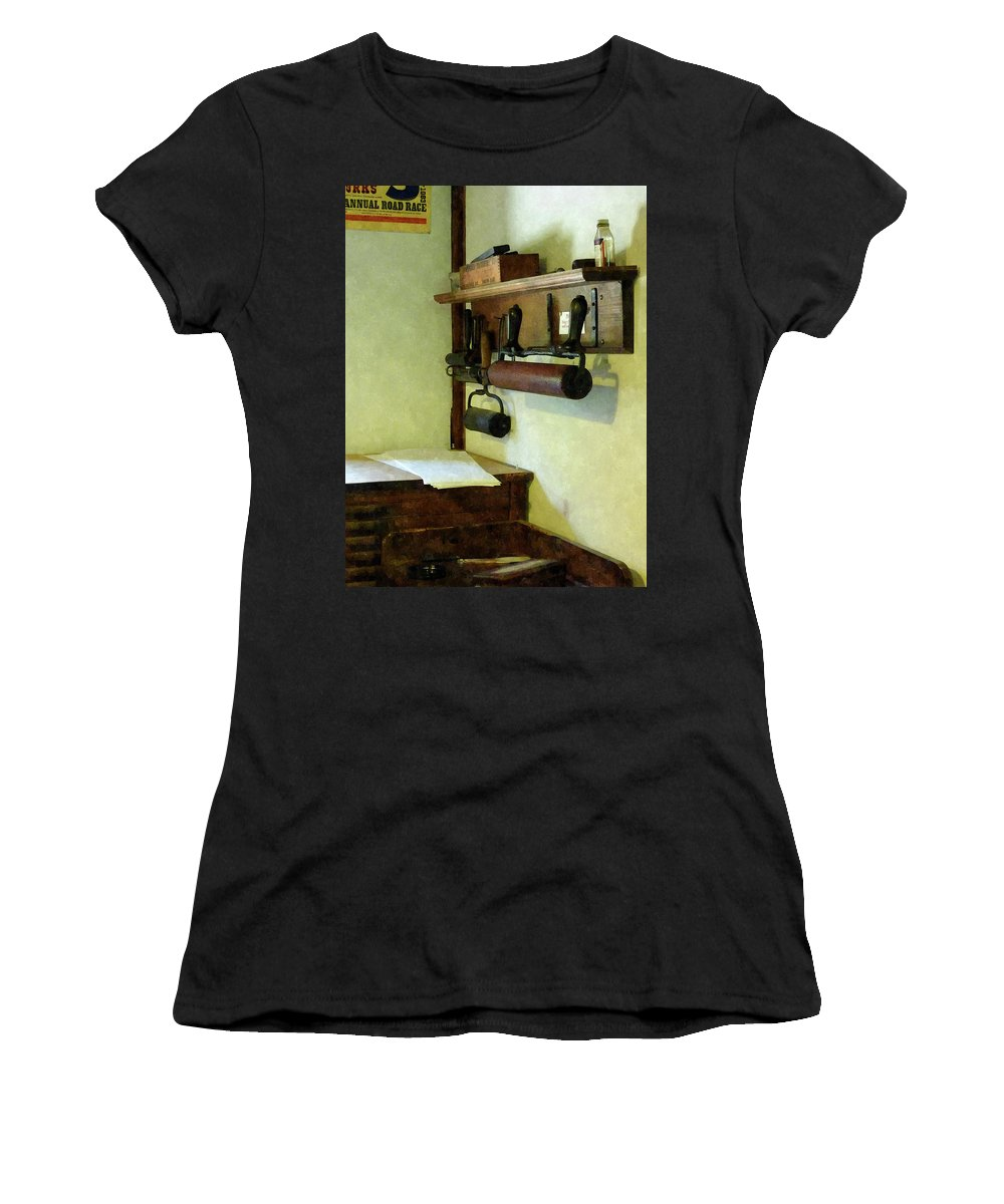 Rollers Women's T-Shirt (Athletic Fit) featuring the photograph Rollers For Printmaking by Susan Savad