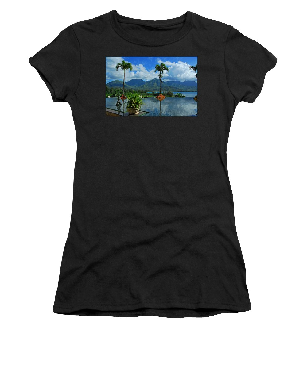 Fountain Women's T-Shirt (Athletic Fit) featuring the photograph Rooftop Fountain In Paradise by Lynn Bauer