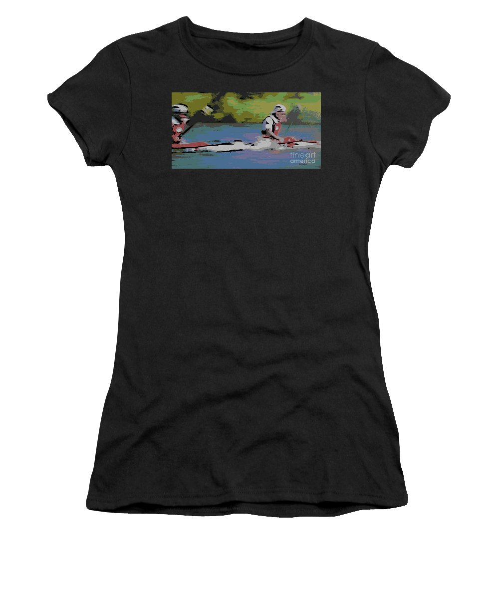 Lightweight Women's T-Shirt (Athletic Fit) featuring the photograph Sculling For The Win by George Pedro