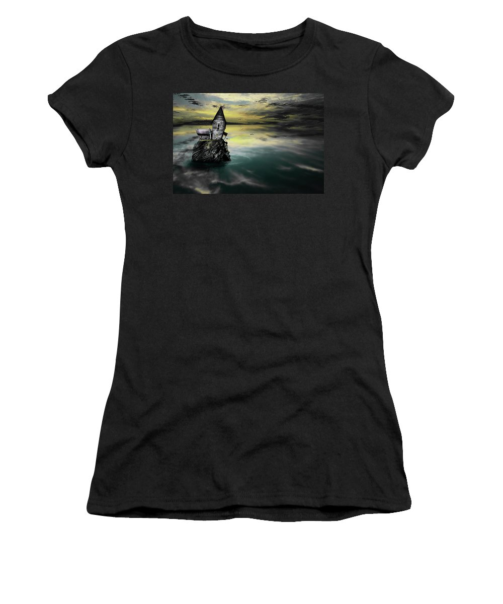 Gray Artus Women's T-Shirt (Athletic Fit) featuring the photograph Seagull Island by Gray Artus