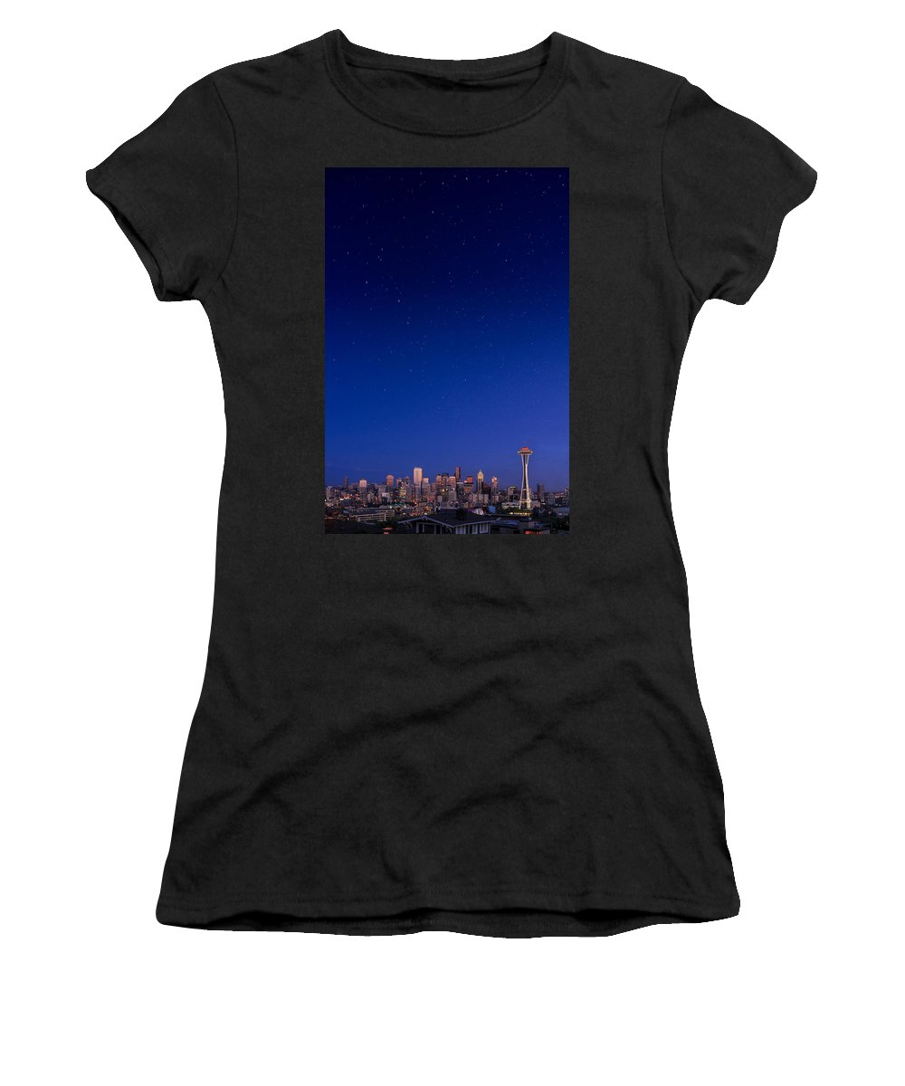 Seattle Skyline 7-7-12 Women's T-Shirt featuring the photograph Seattle Skyline 1 by Mike Penney