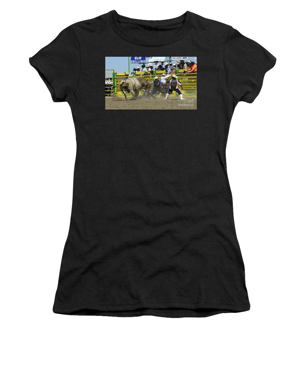 Rodeo Bull Riding Women's T-Shirt (Athletic Fit) featuring the photograph Rodeo Shaking It Up by Bob Christopher