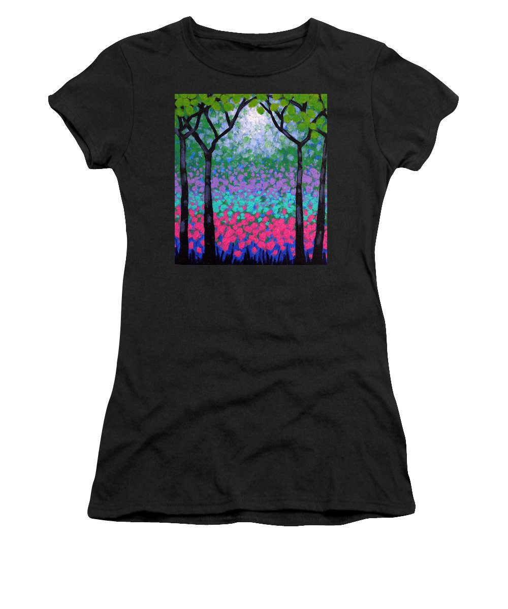 Landscape Women's T-Shirt (Athletic Fit) featuring the painting Six Trees by John Nolan