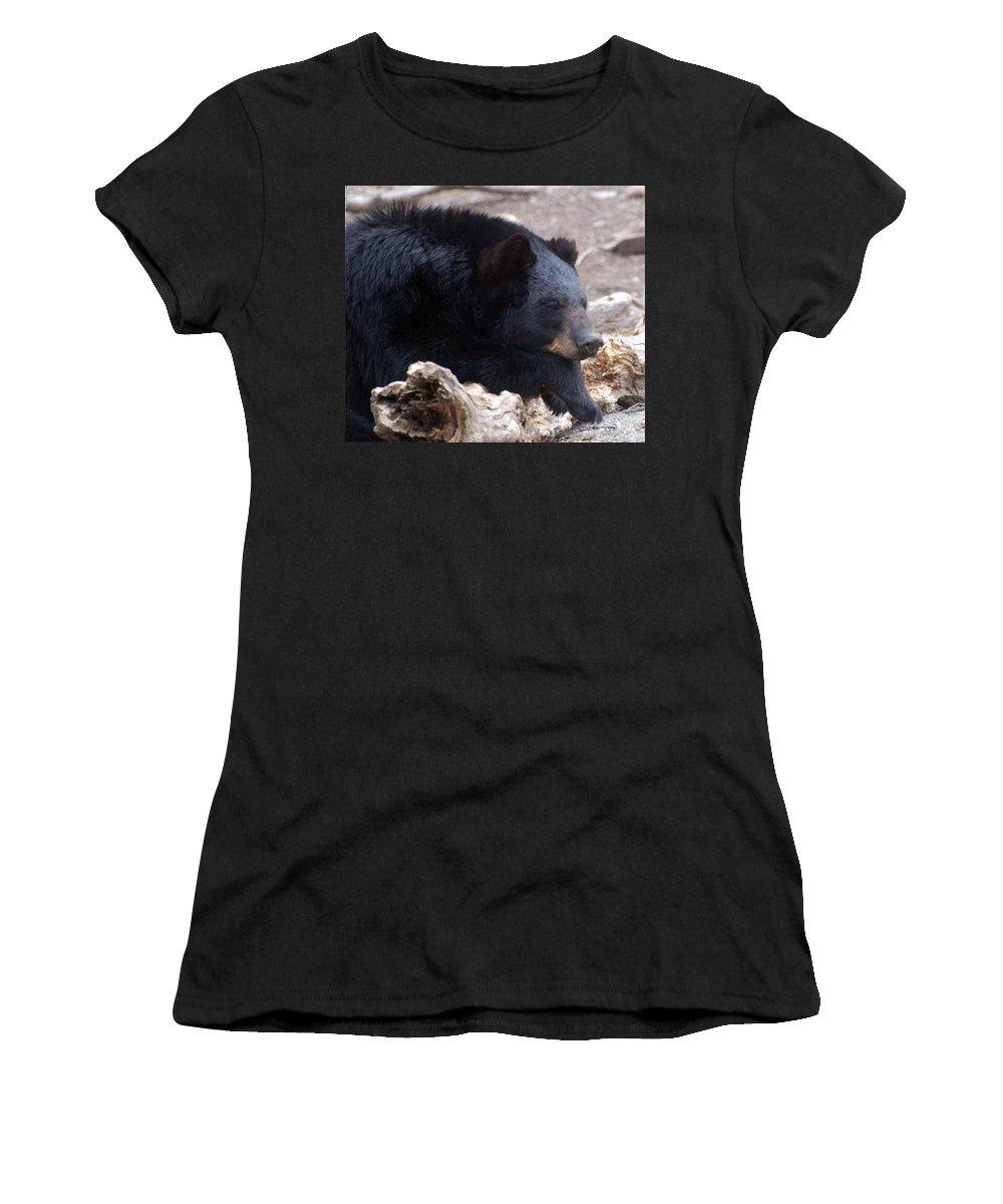 Black Bear Women's T-Shirt (Athletic Fit) featuring the photograph Sleepy Black Bear by Paul Ward