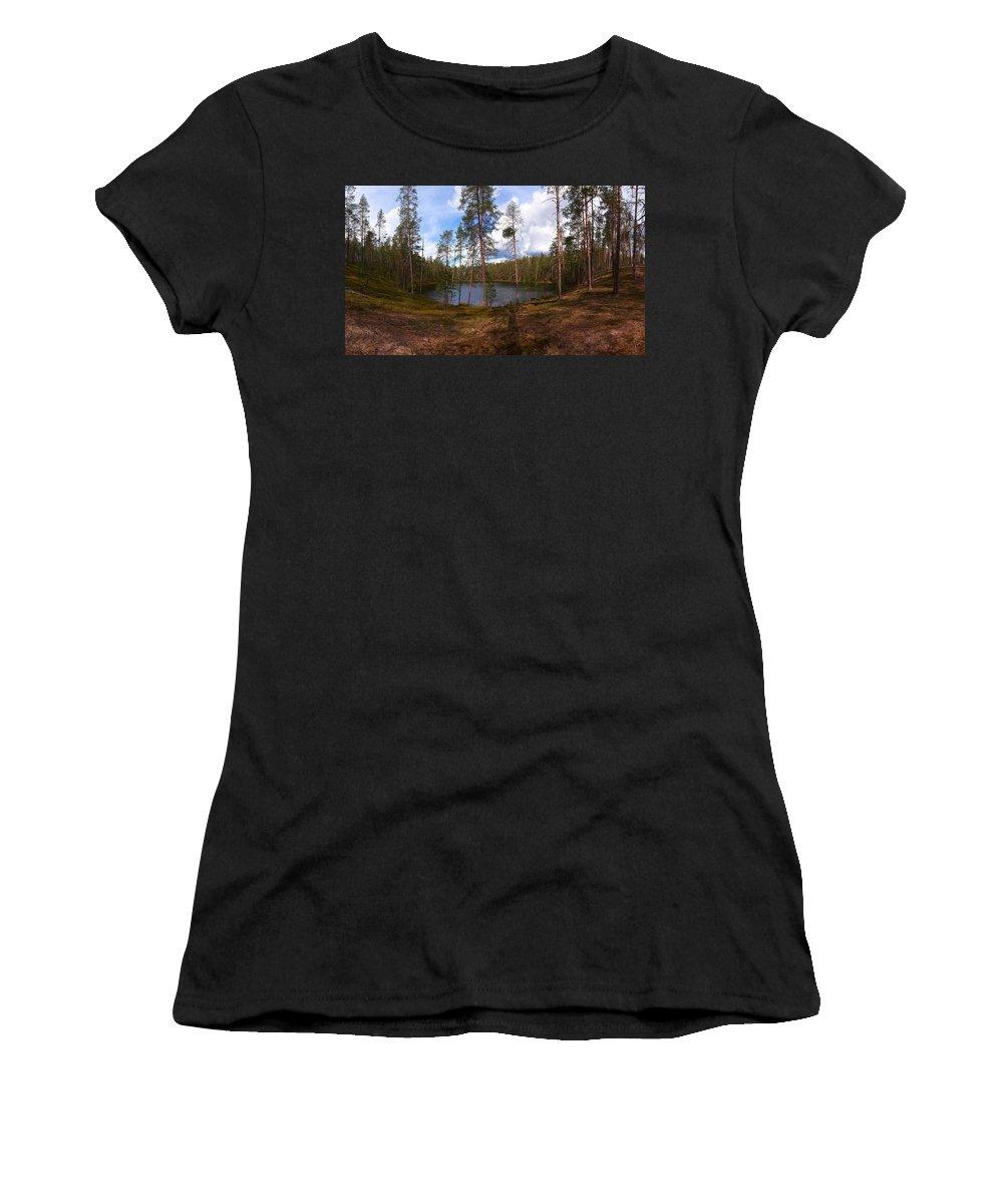 Lehtokukka Women's T-Shirt (Athletic Fit) featuring the photograph Smaller Huossilampi by Jouko Lehto