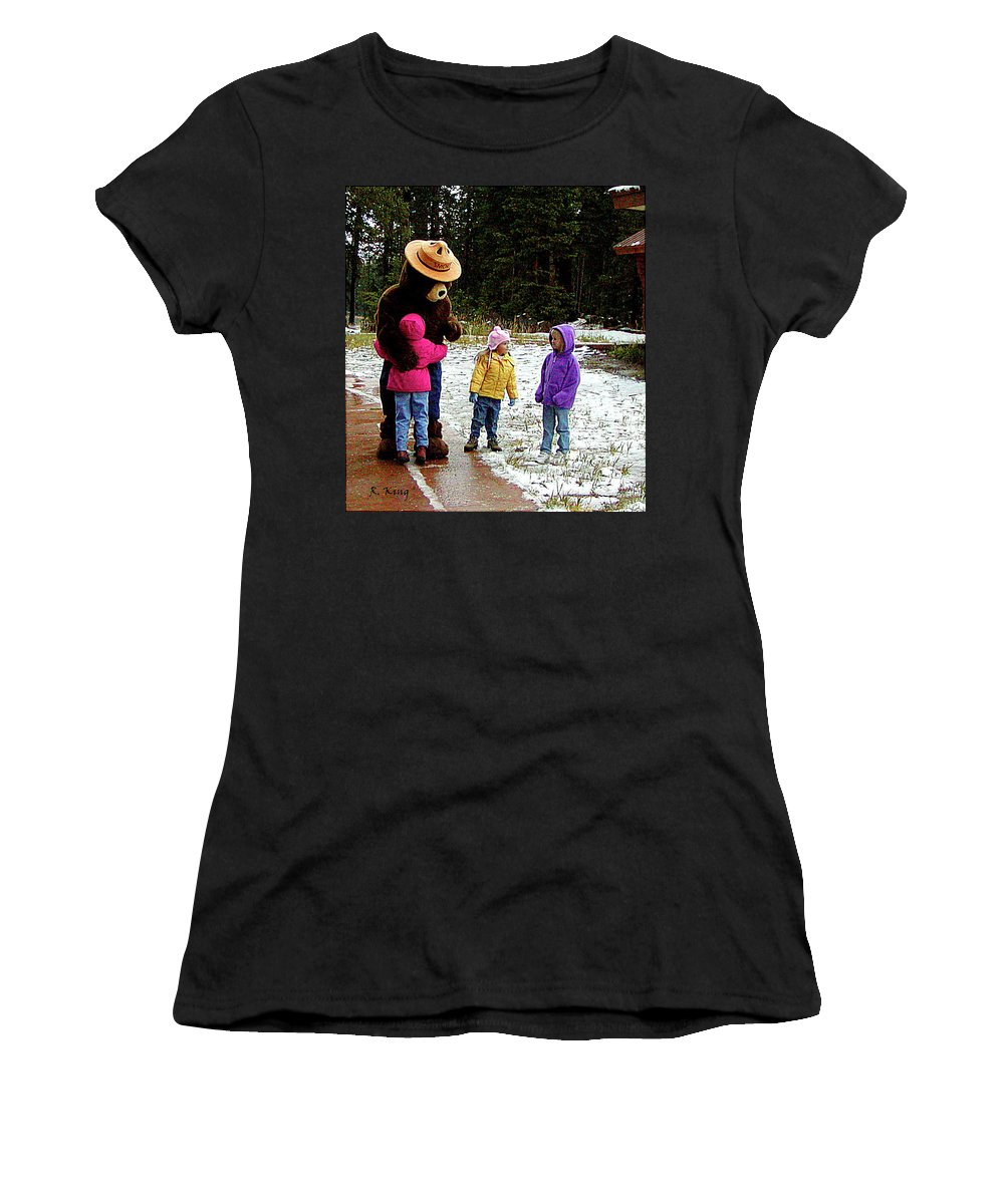 Roena King Women's T-Shirt (Athletic Fit) featuring the photograph Smokey And The Girls by Roena King
