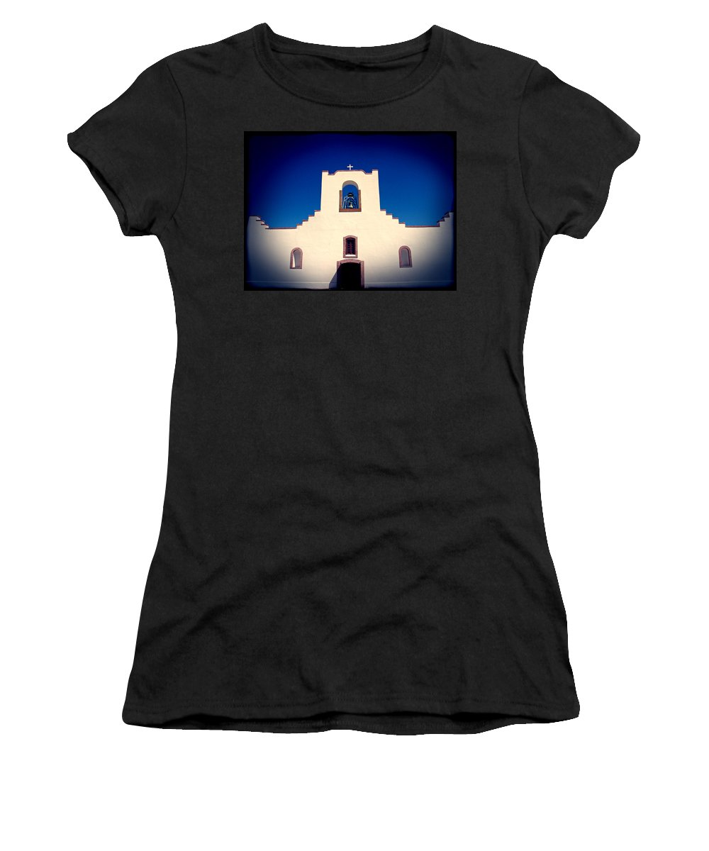 Church Women's T-Shirt (Athletic Fit) featuring the photograph Socorro Mission Texas by Kurt Van Wagner