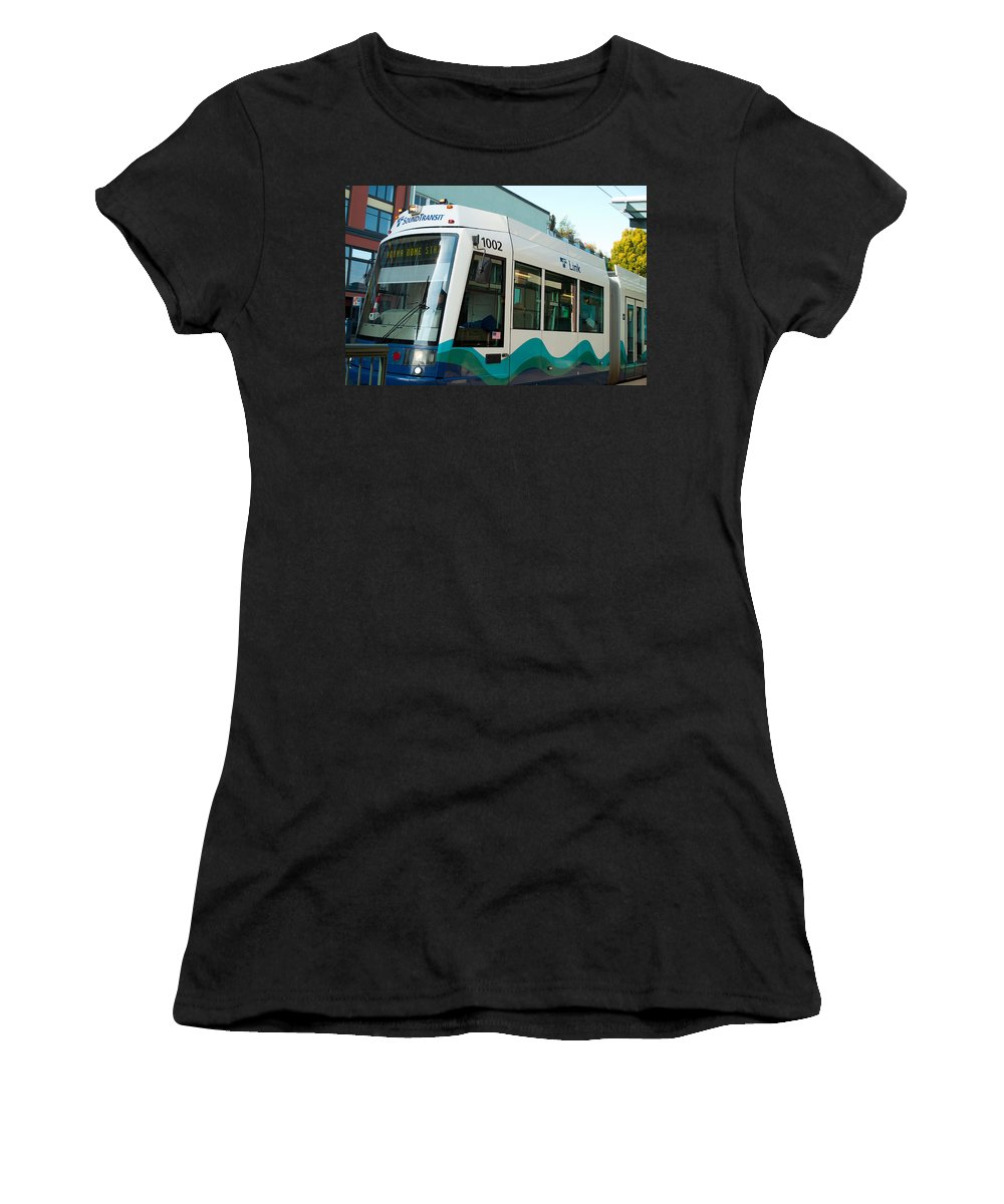 Pierce Transit Women's T-Shirt (Athletic Fit) featuring the photograph Sounder Train by Tikvah's Hope
