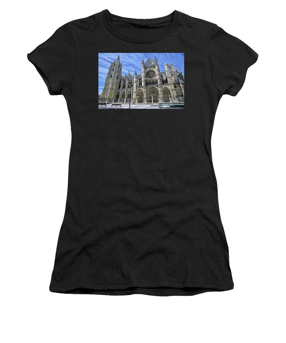 Windows Women's T-Shirt (Athletic Fit) featuring the photograph South Facade Of Leon White Gothic by Axiom Photographic