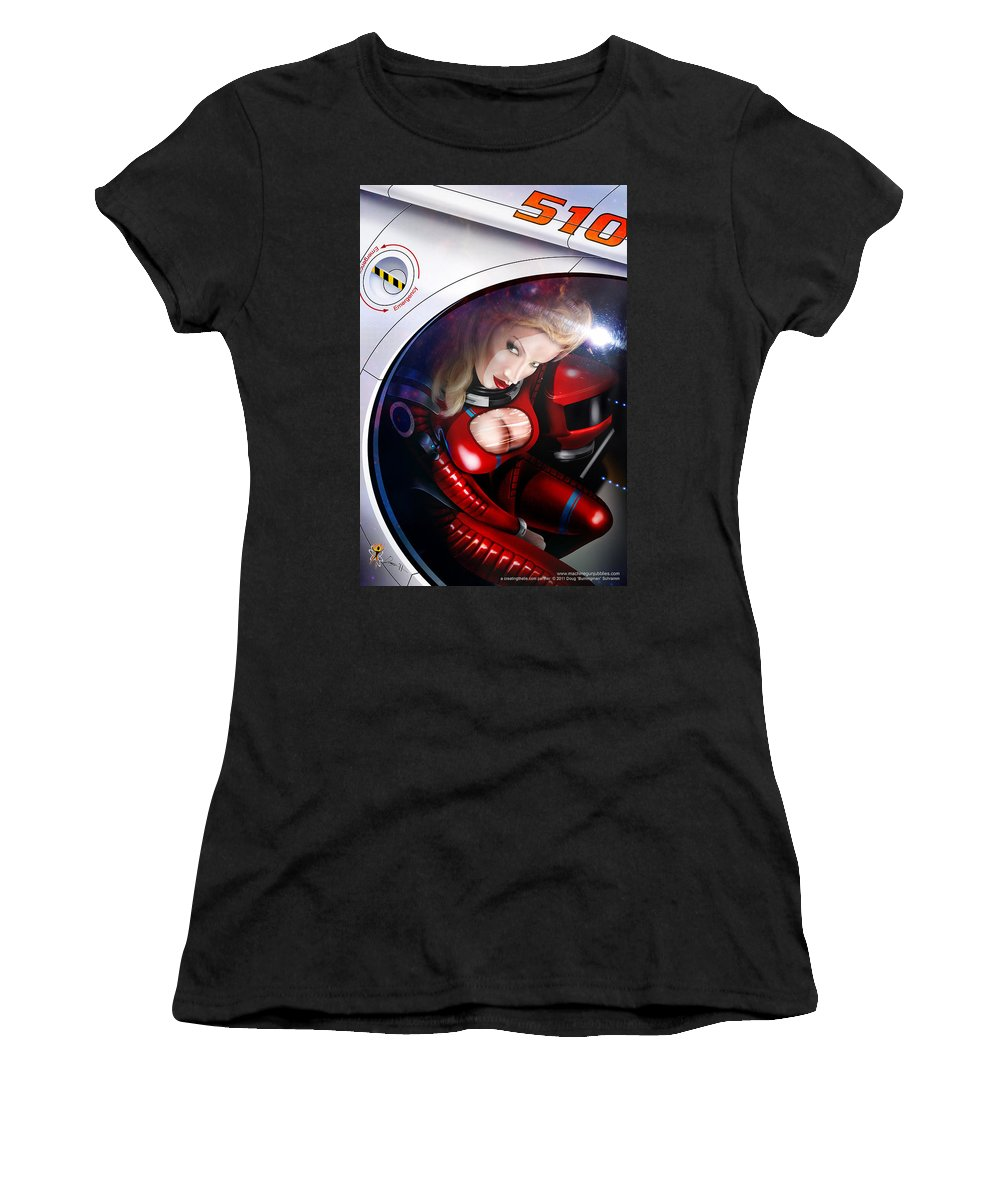 Space Women's T-Shirt (Athletic Fit) featuring the digital art Space Girl by Doug Schramm