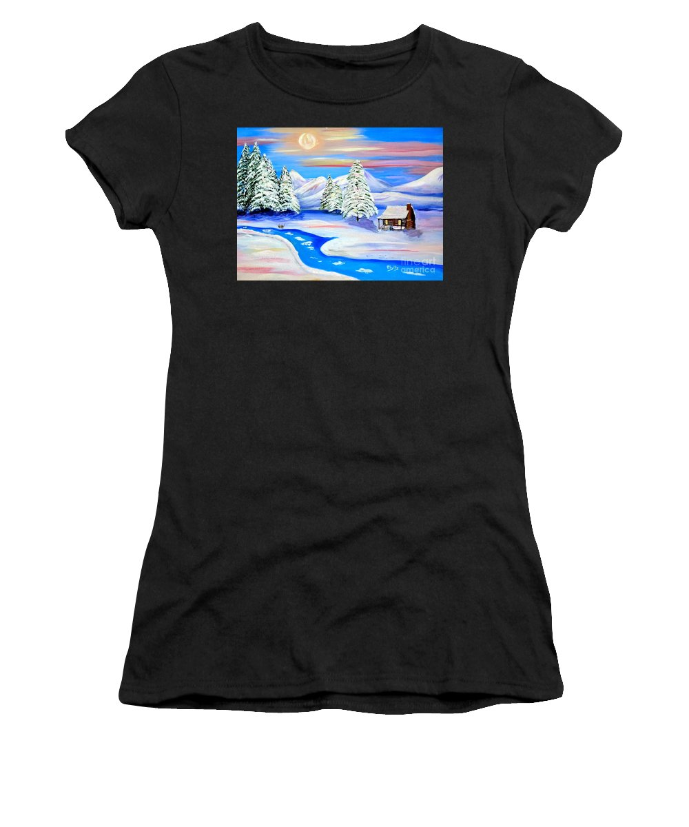 Sun Setting Cabin In The Snow Women's T-Shirt (Athletic Fit) featuring the painting Sparkling Winter by Phyllis Kaltenbach