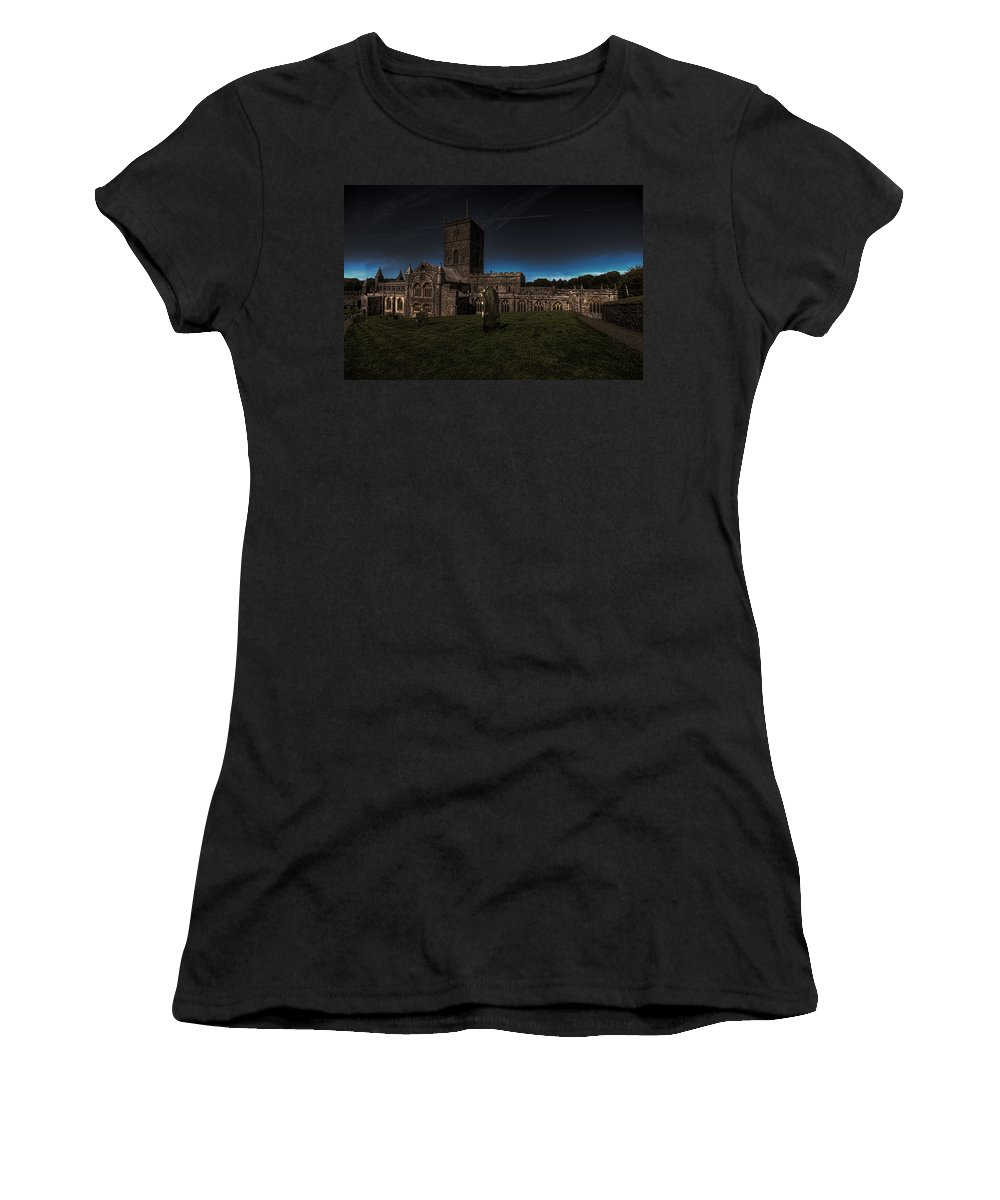 St Davids Cathedral Women's T-Shirt (Athletic Fit) featuring the photograph St Davids Cathedral Pembrokeshire Dusk by Steve Purnell