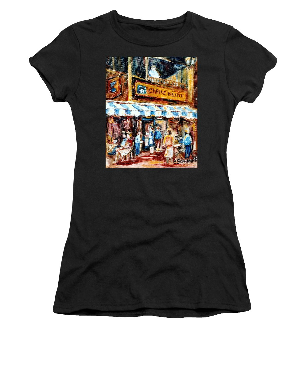 Montreal Women's T-Shirt (Athletic Fit) featuring the painting St. Denis And Prince Arthur Montreal Cafe Scene by Carole Spandau