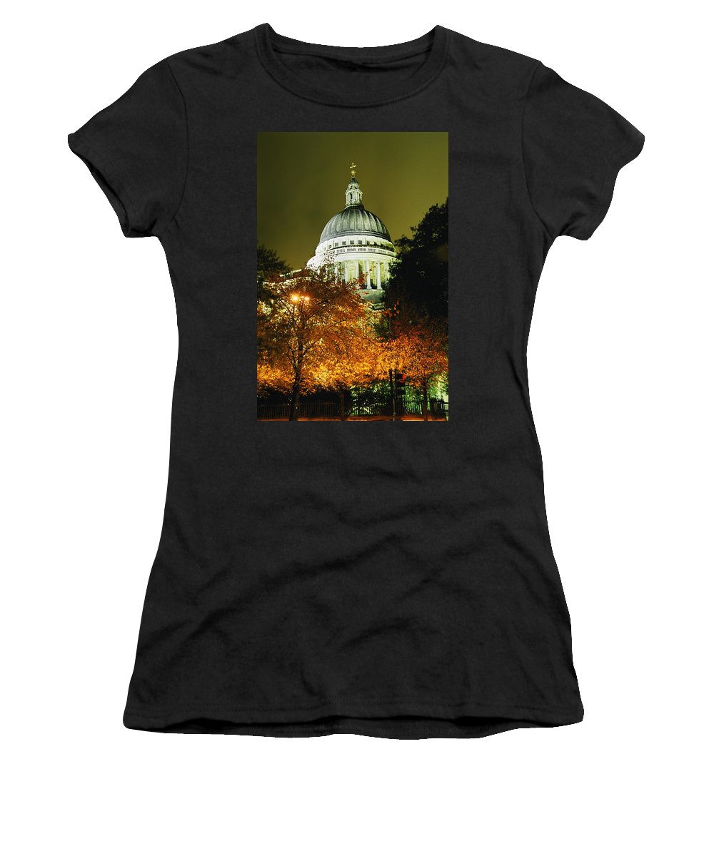 Urban Women's T-Shirt (Athletic Fit) featuring the photograph St Pauls Cathedral At Night With Trees by Axiom Photographic