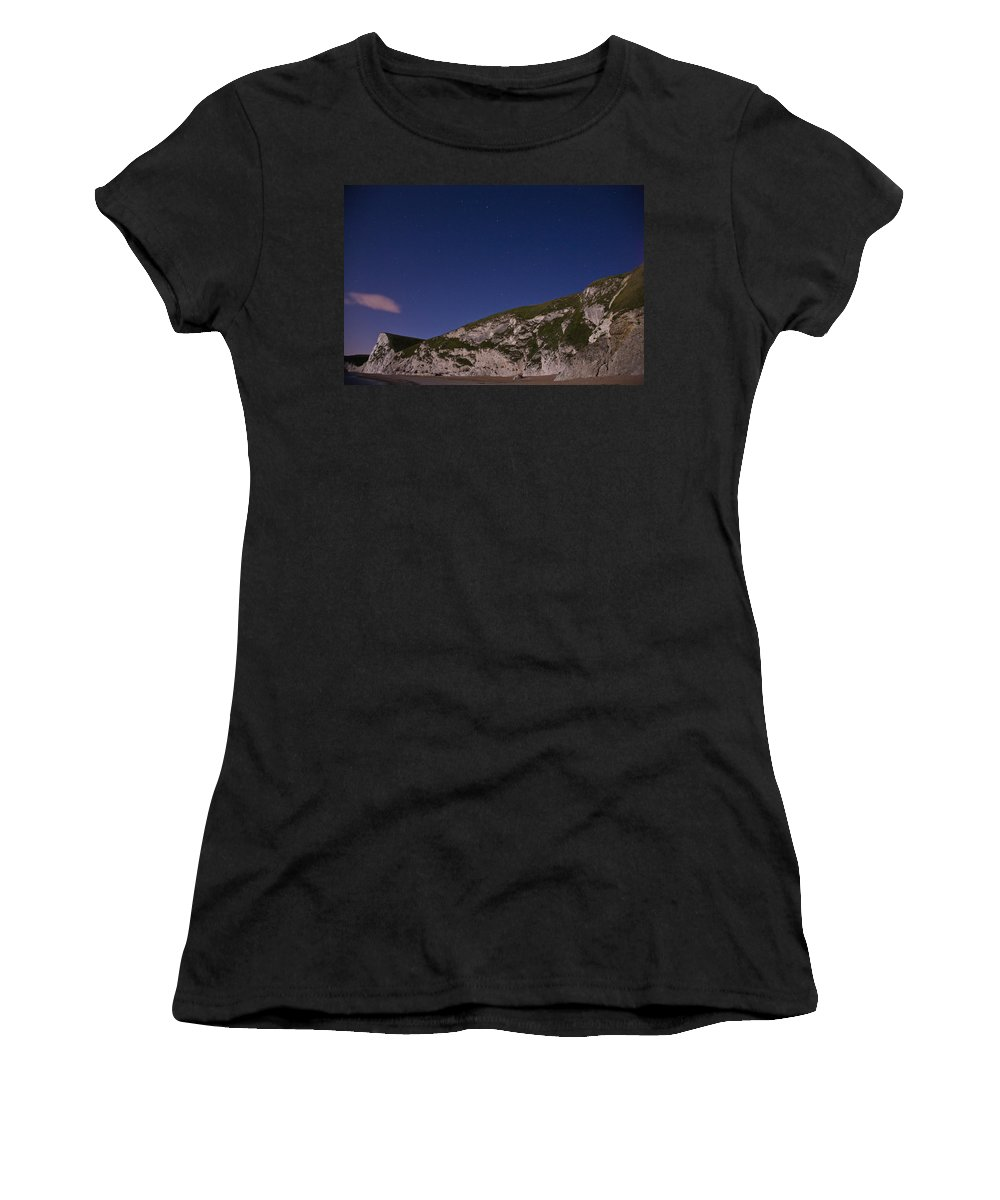 Durdle Women's T-Shirt (Athletic Fit) featuring the photograph Starry Night At Durdle Door by Ian Middleton