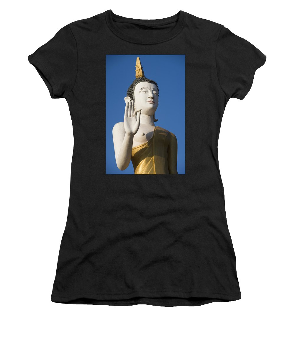 No People Women's T-Shirt (Athletic Fit) featuring the photograph Statue Of Buddha At Wat That Luang Tai by Axiom Photographic