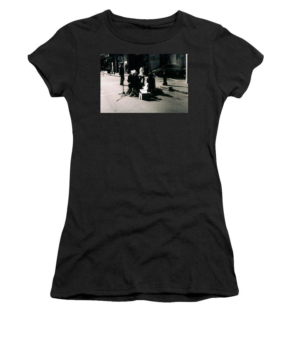 Bourbon Street Women's T-Shirt (Athletic Fit) featuring the photograph Street Musicians- Grandpa Elliot by Doug Duffey