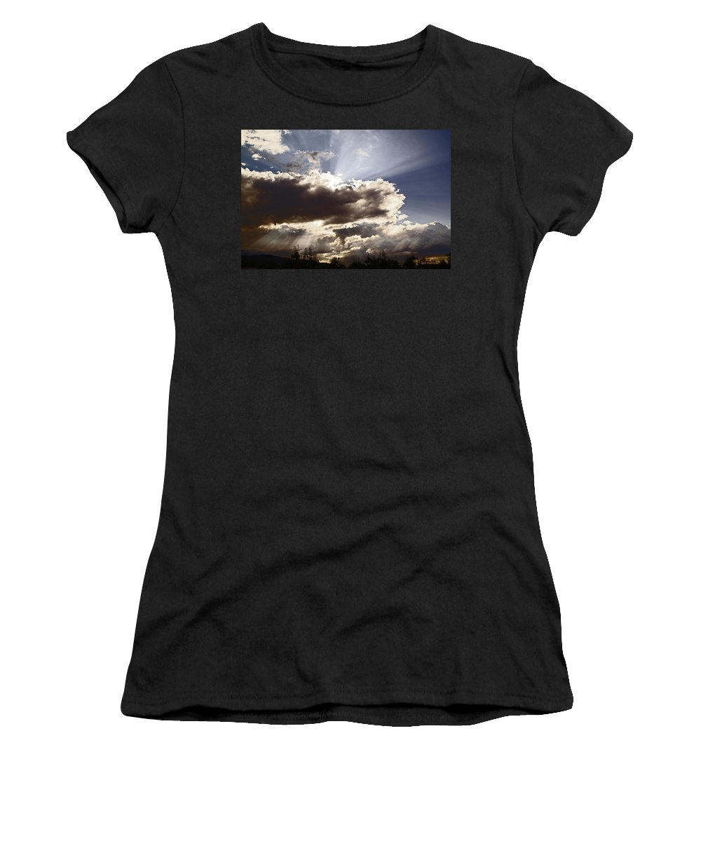 Sunlight Women's T-Shirt (Athletic Fit) featuring the photograph Sunlight And Stormy Skies by Mick Anderson