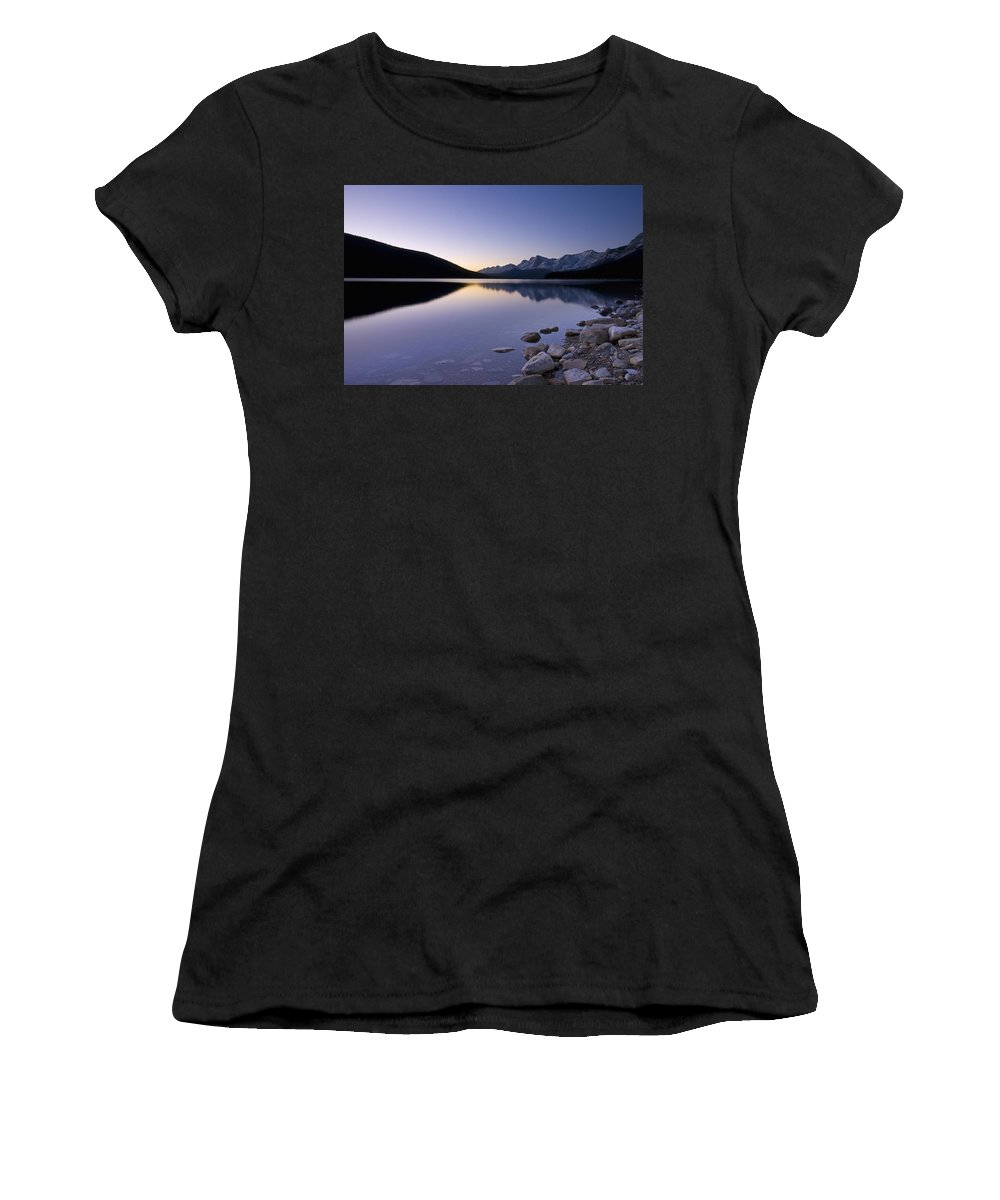 Beauty In Nature Women's T-Shirt (Athletic Fit) featuring the photograph Sunrise On The Upper Lake Of Kananaskis by Philippe Widling