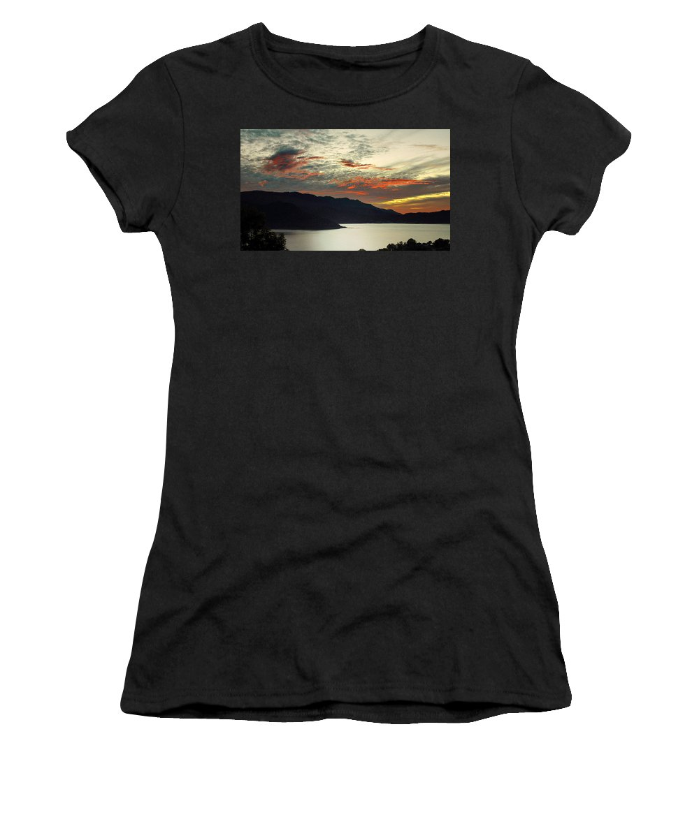 Landscapes Women's T-Shirt (Athletic Fit) featuring the photograph Sunset At The Lake by David Resnikoff