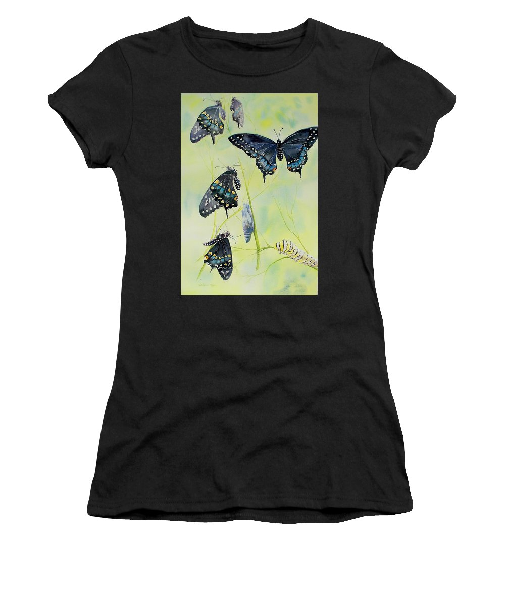 Butterfly Women's T-Shirt featuring the painting Swallowtail Story by Celene Terry