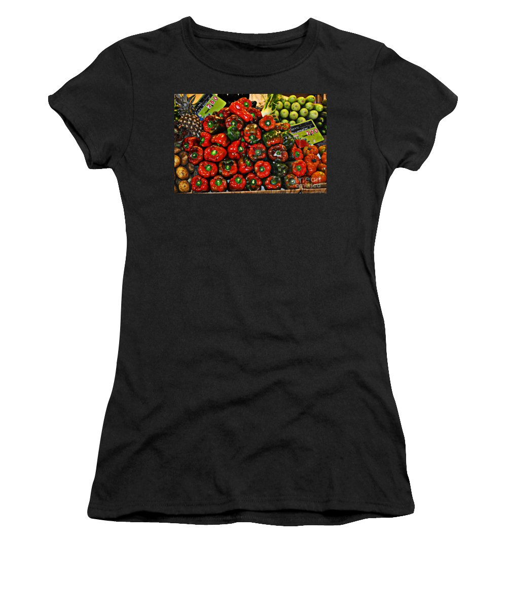 Sweet Red Peppers Women's T-Shirt featuring the photograph Sweet Red Peppers by Mary Machare