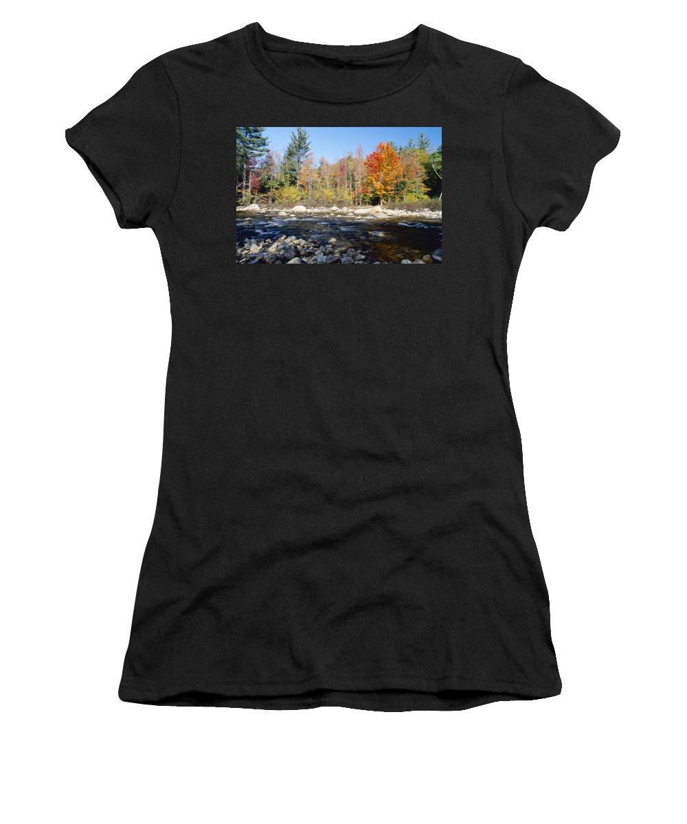 Autumnal Women's T-Shirt (Athletic Fit) featuring the photograph Swift River by Axiom Photographic