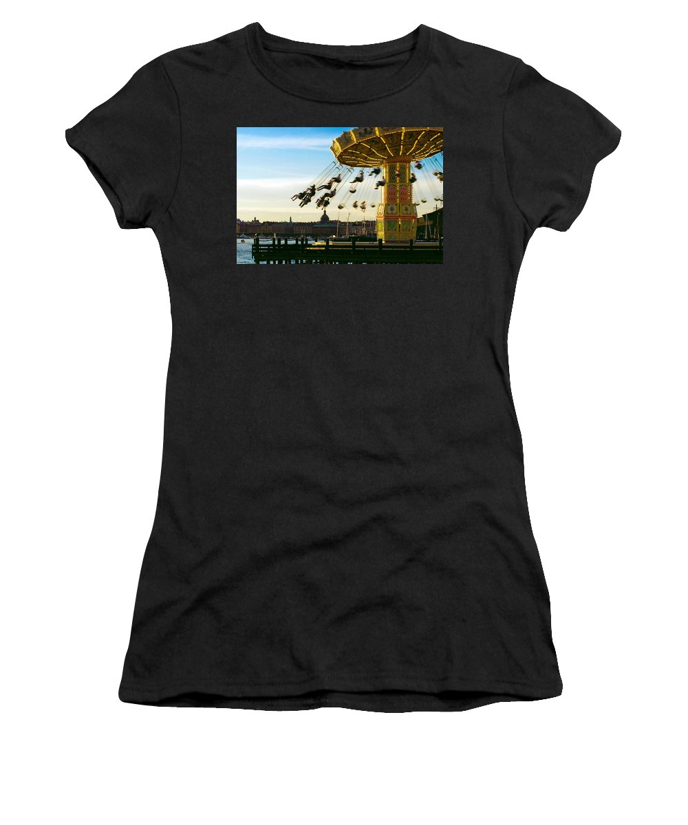 Swings Women's T-Shirt (Athletic Fit) featuring the photograph Swings At Sunset by Paul Van Scott